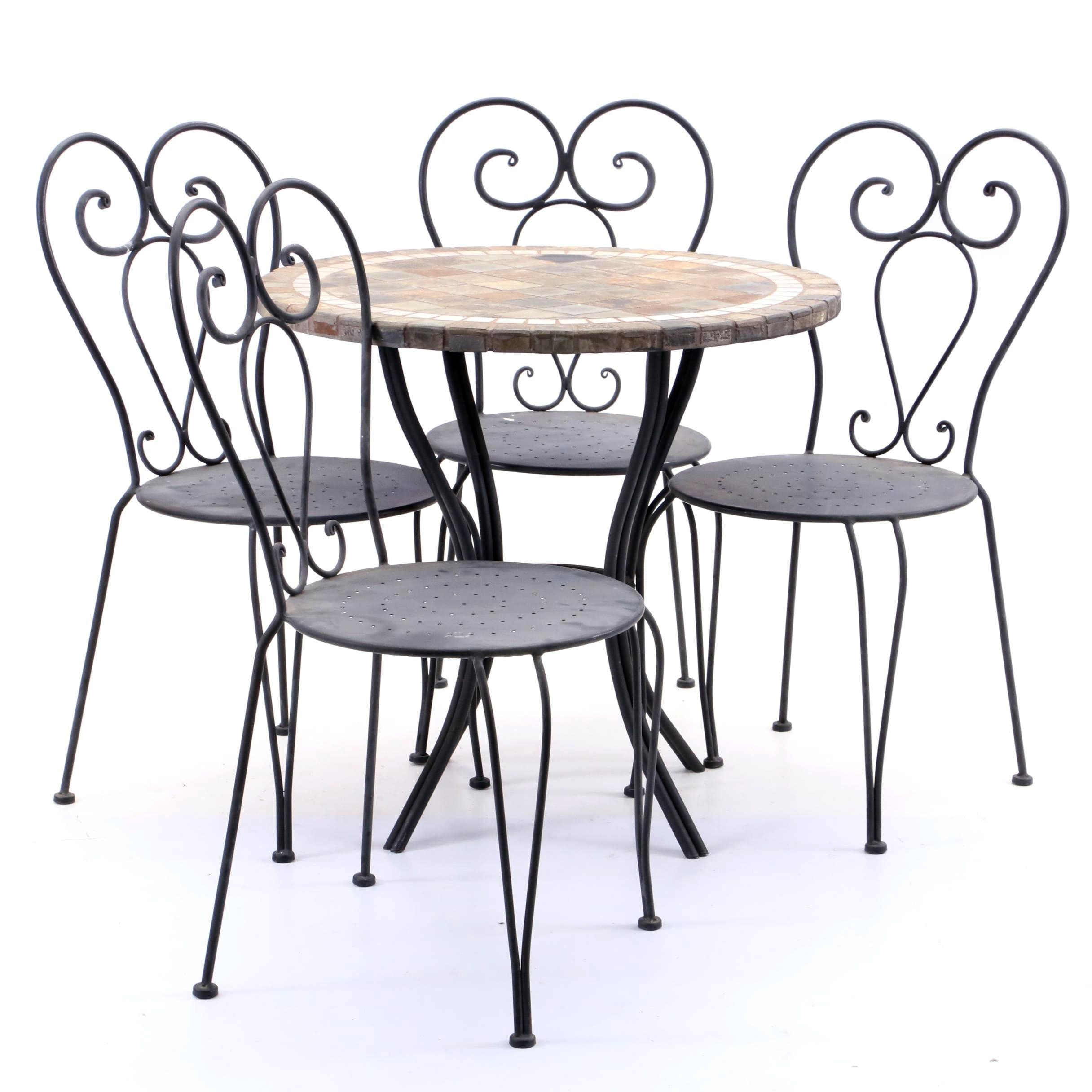 Slate Outdoor Patio Table with Four Chairs