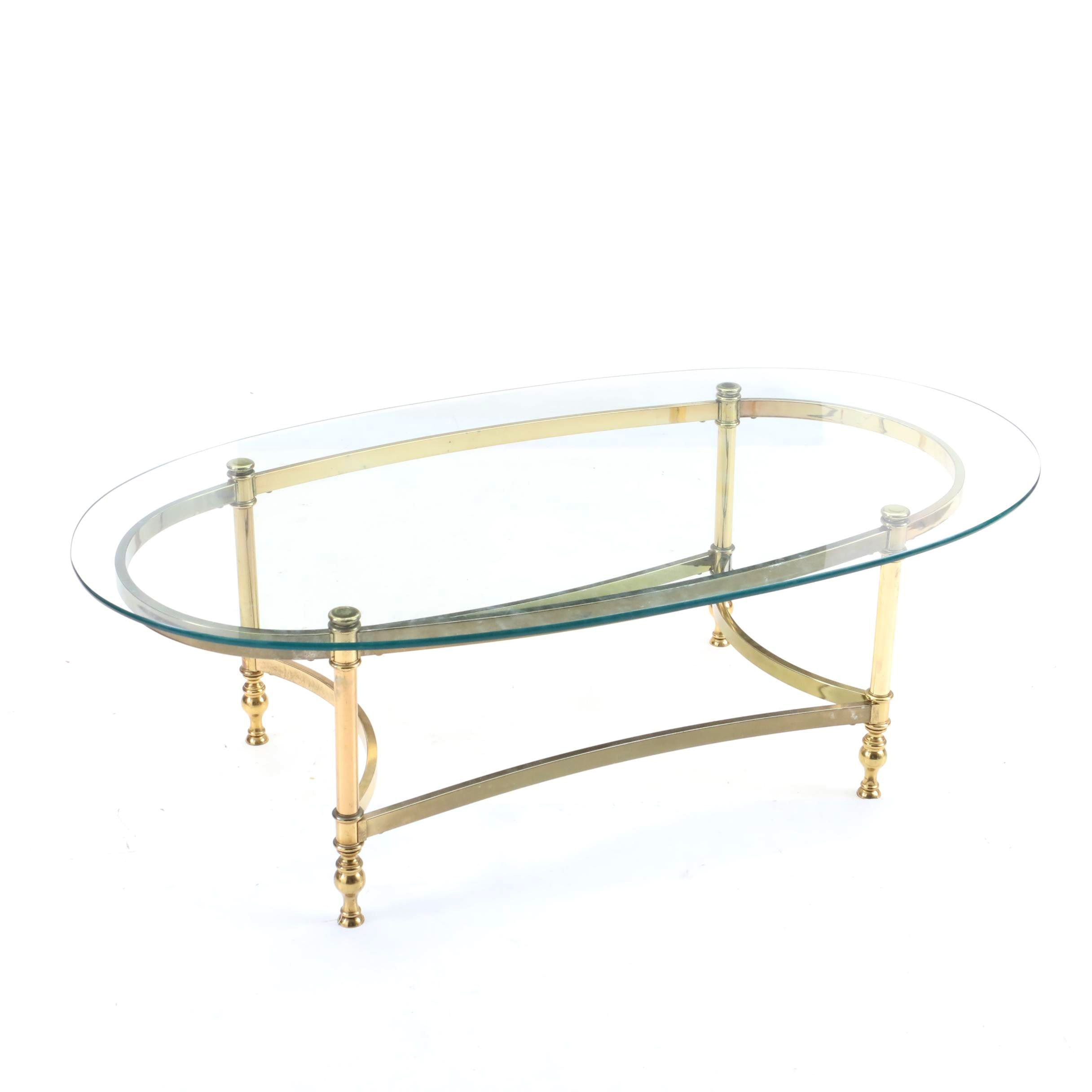 Hollywood Regency Style Glass Top Coffee Table, Late 20th Century