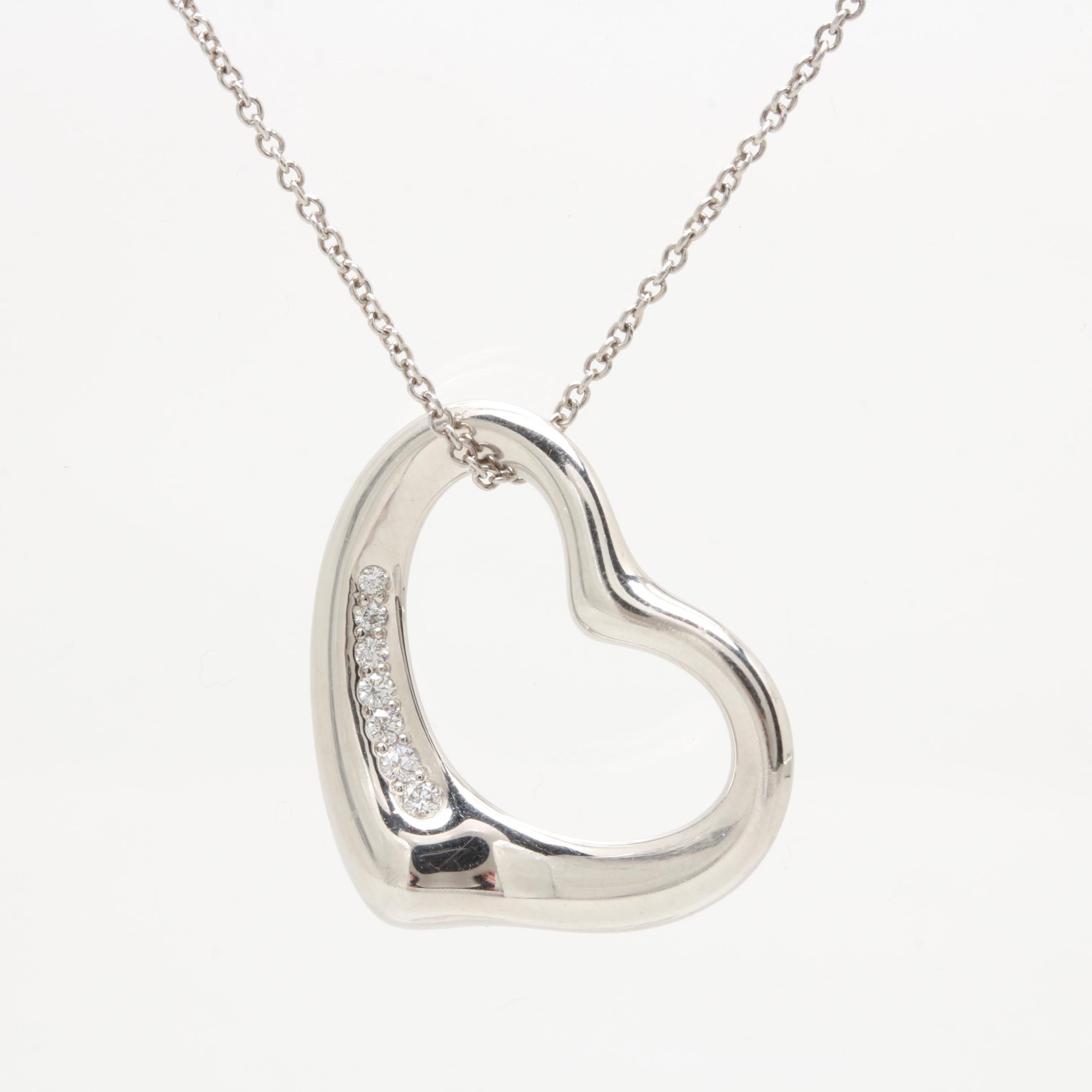 Elsa Peretti for Tiffany & Co. Platinum Diamond Heart Necklace