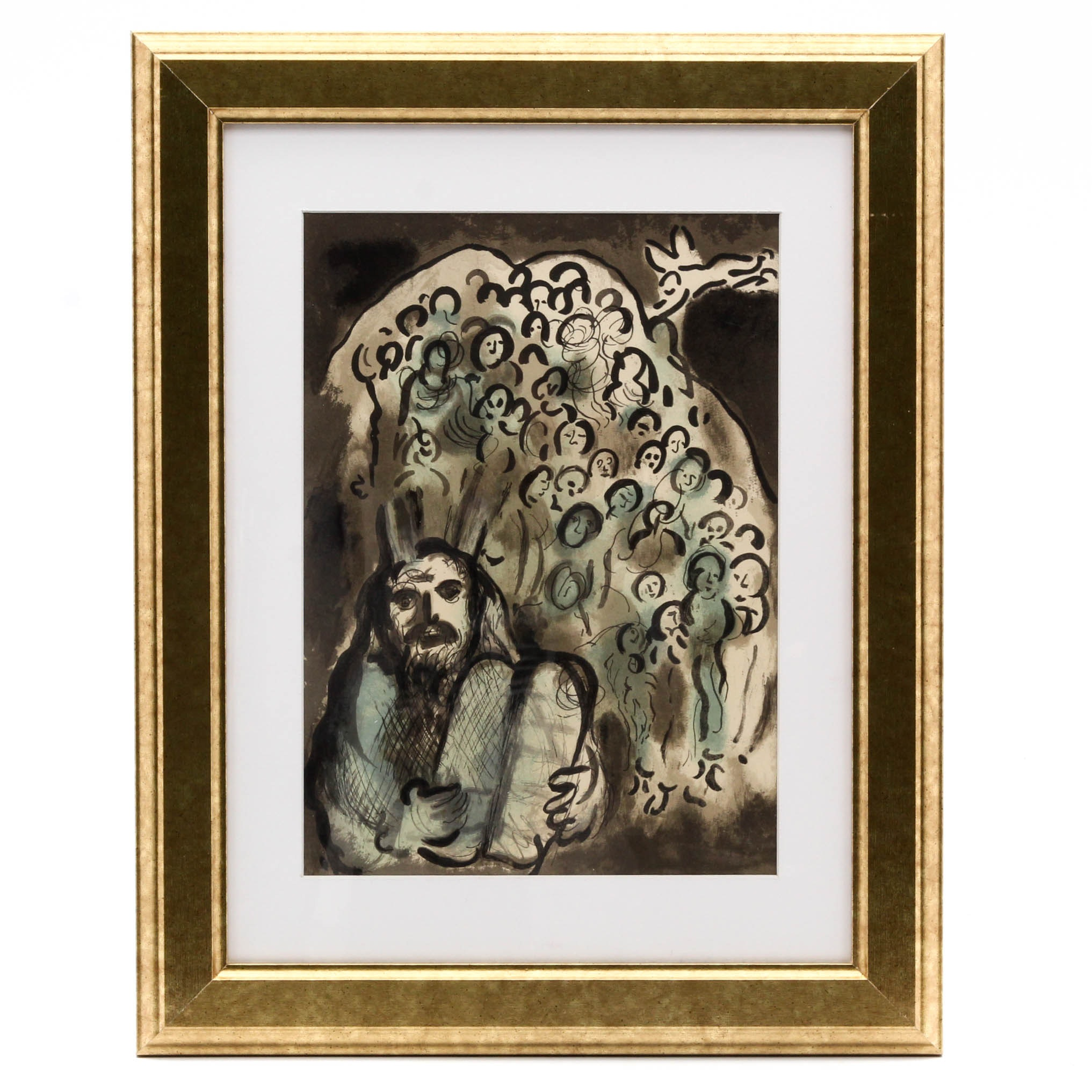 "Marc Chagall 1973 Color Lithograph ""Moses and His People"""