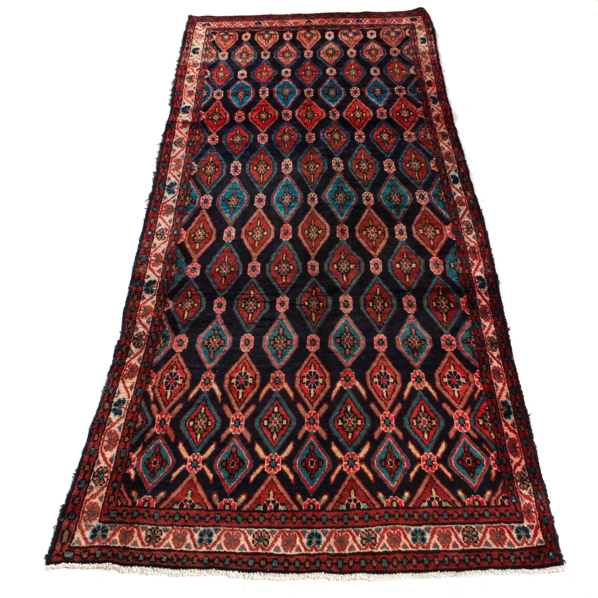 Semi-Antique Hand-Knotted Persian Mahal Wide Runner