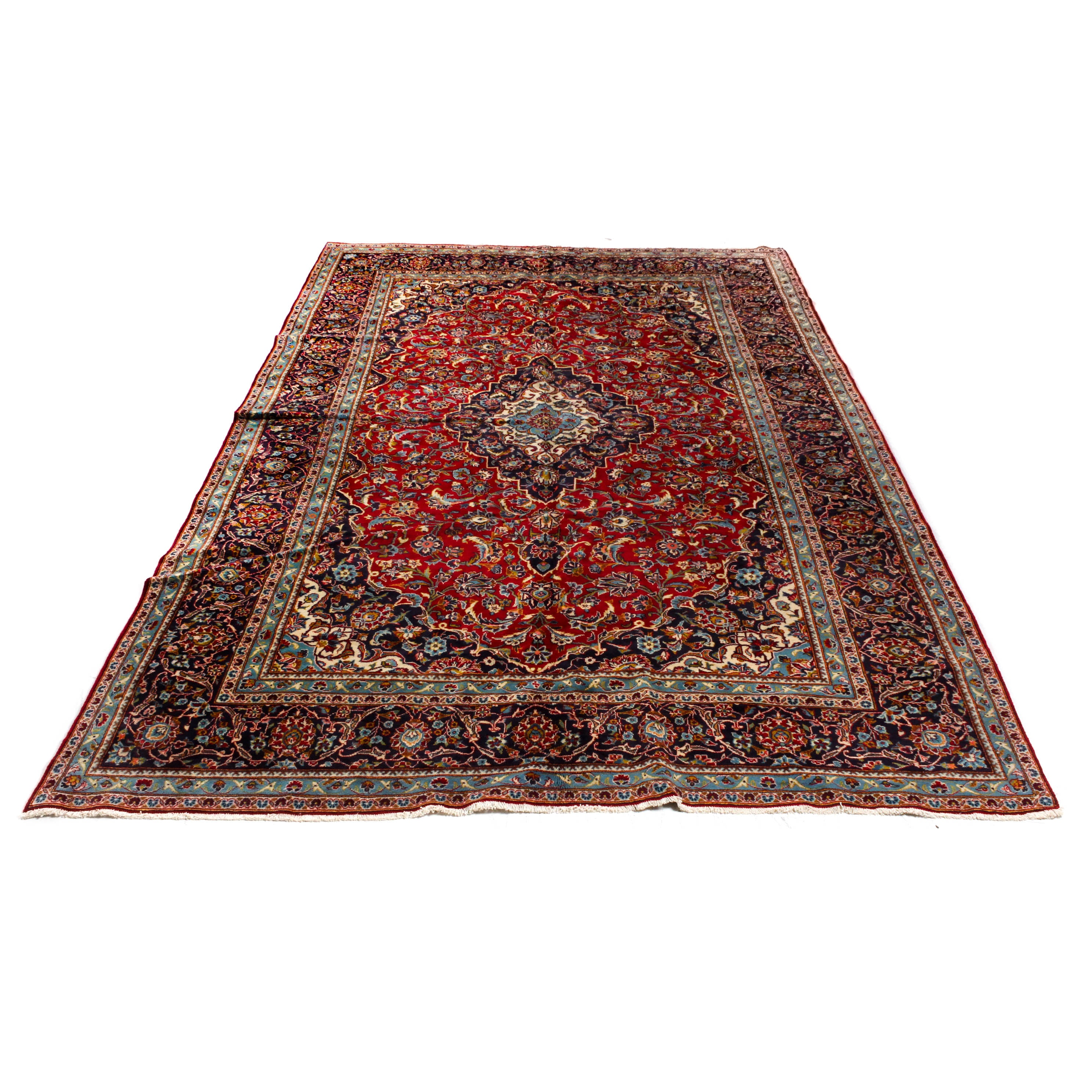 Semi-Antique Hand-Knotted Persian Kashan Room Sized Rug