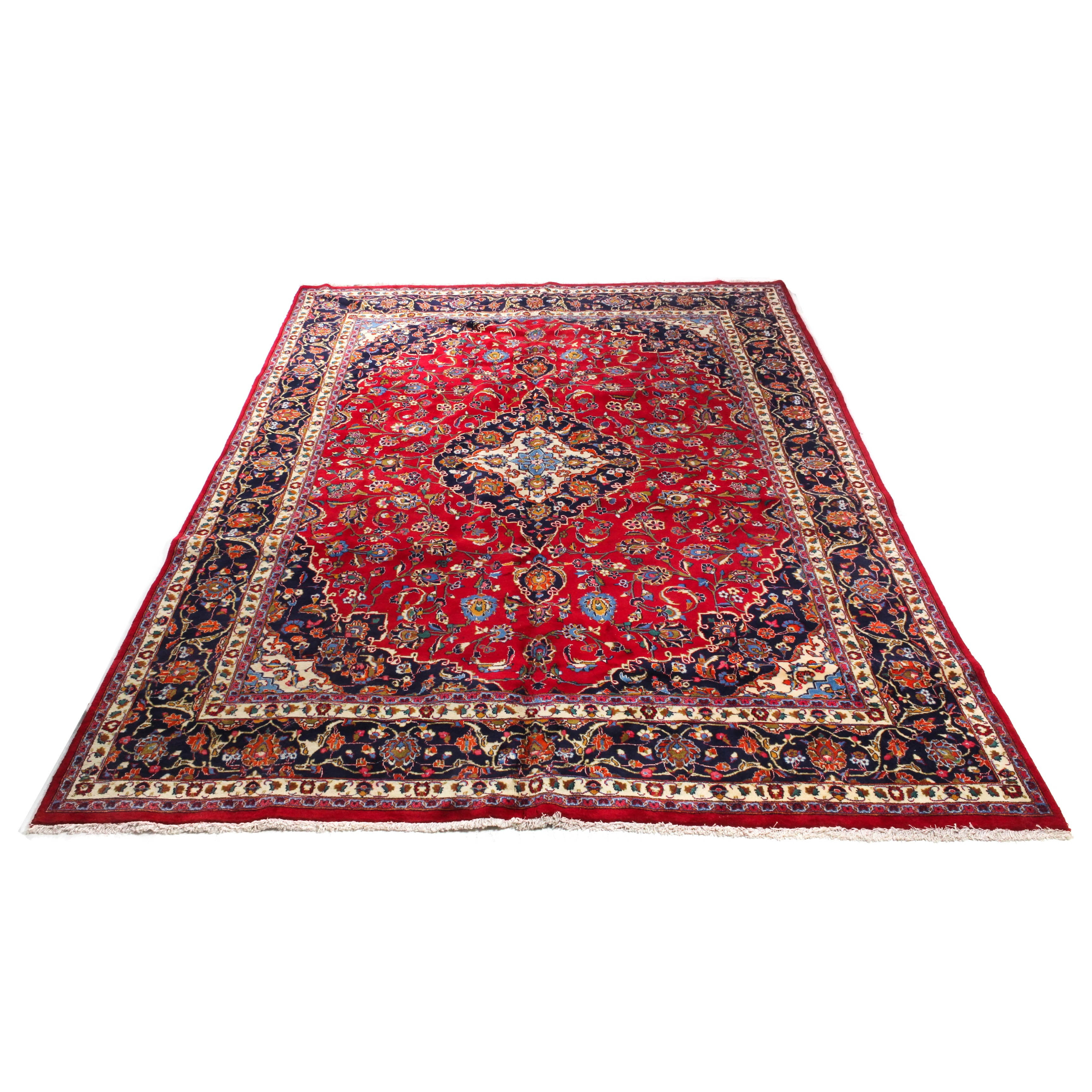 Semi-Antique Hand-Knotted Persian Mashhad Room Sized Rug