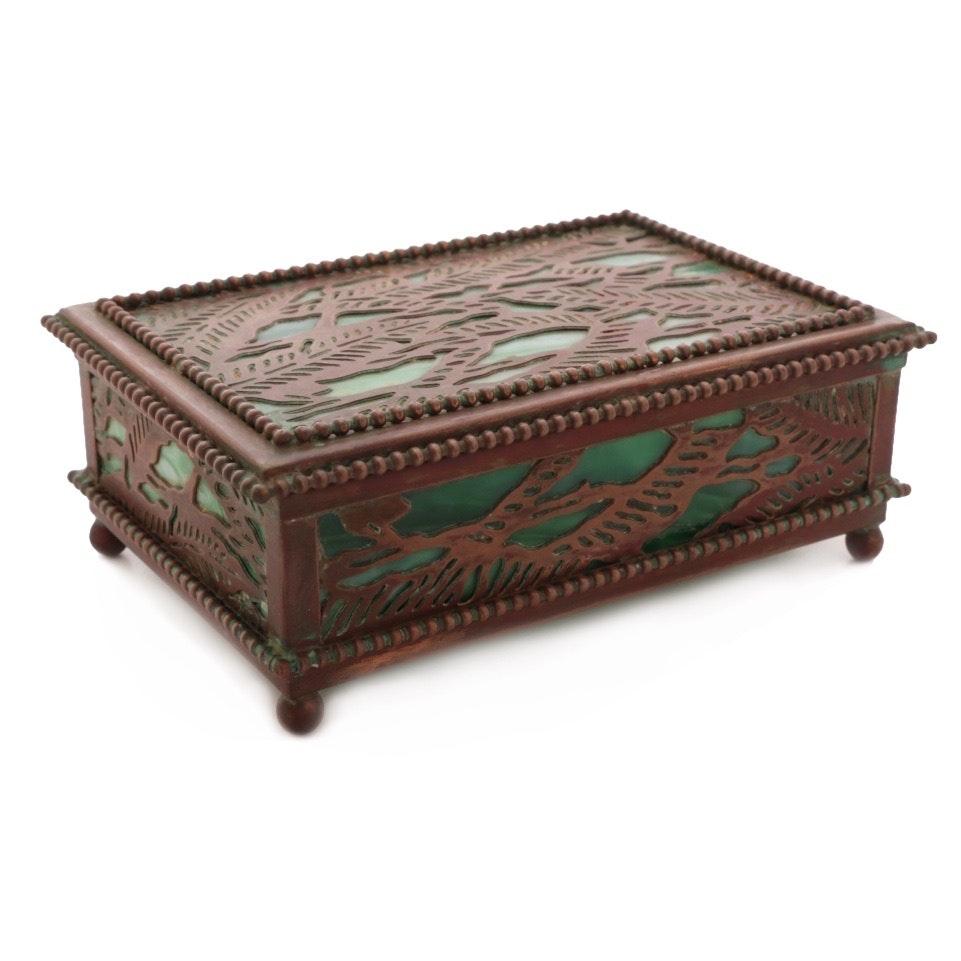 Tiffany Studios Favrile Glass and Patinated Bronze Box