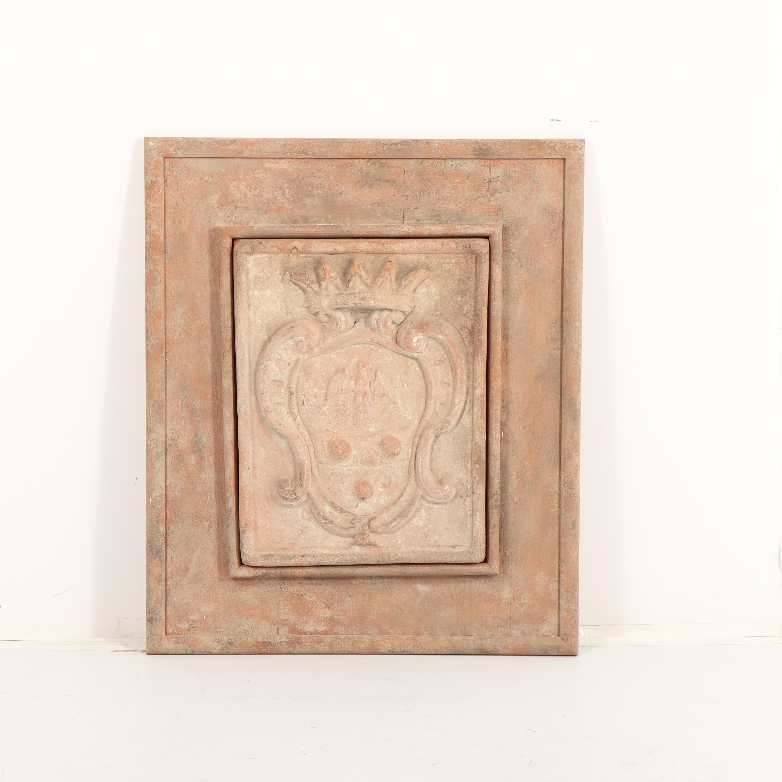 Cast Ceramic Panel with Coat of Arms Motif
