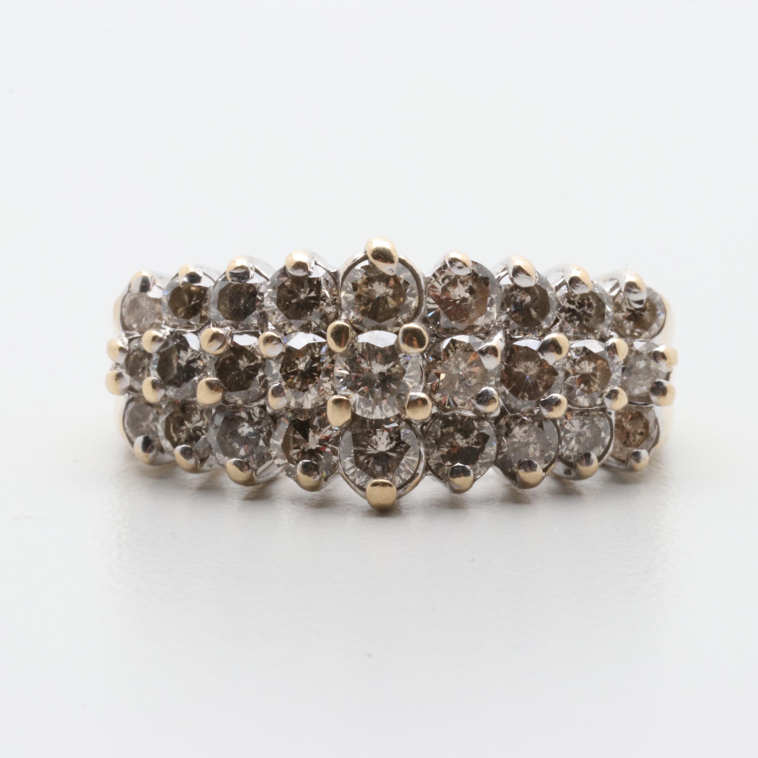 14K Yellow Gold 1.62 CTW Diamond Cluster Ring