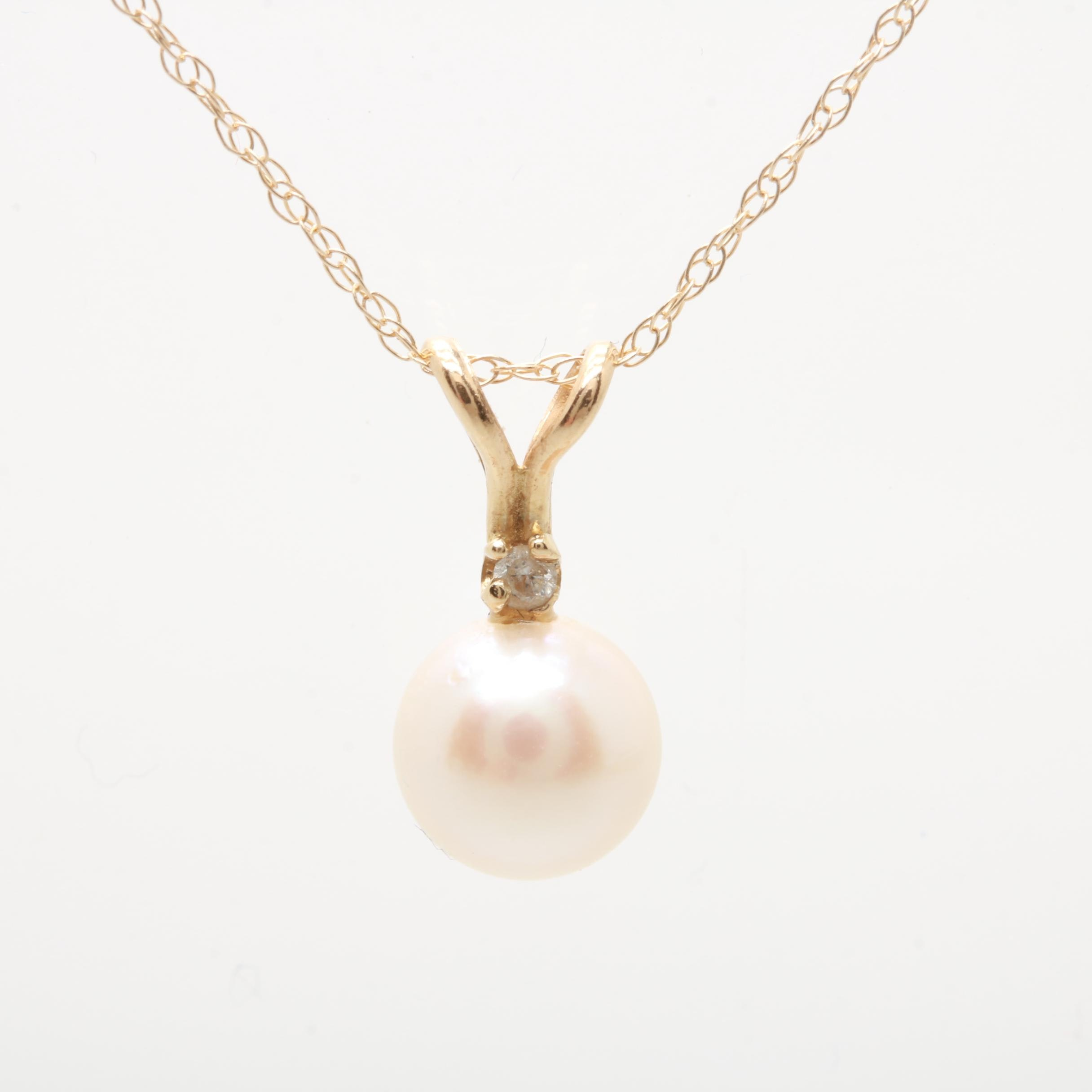 14K Yellow Gold Cultured Pearl and Diamond Necklace