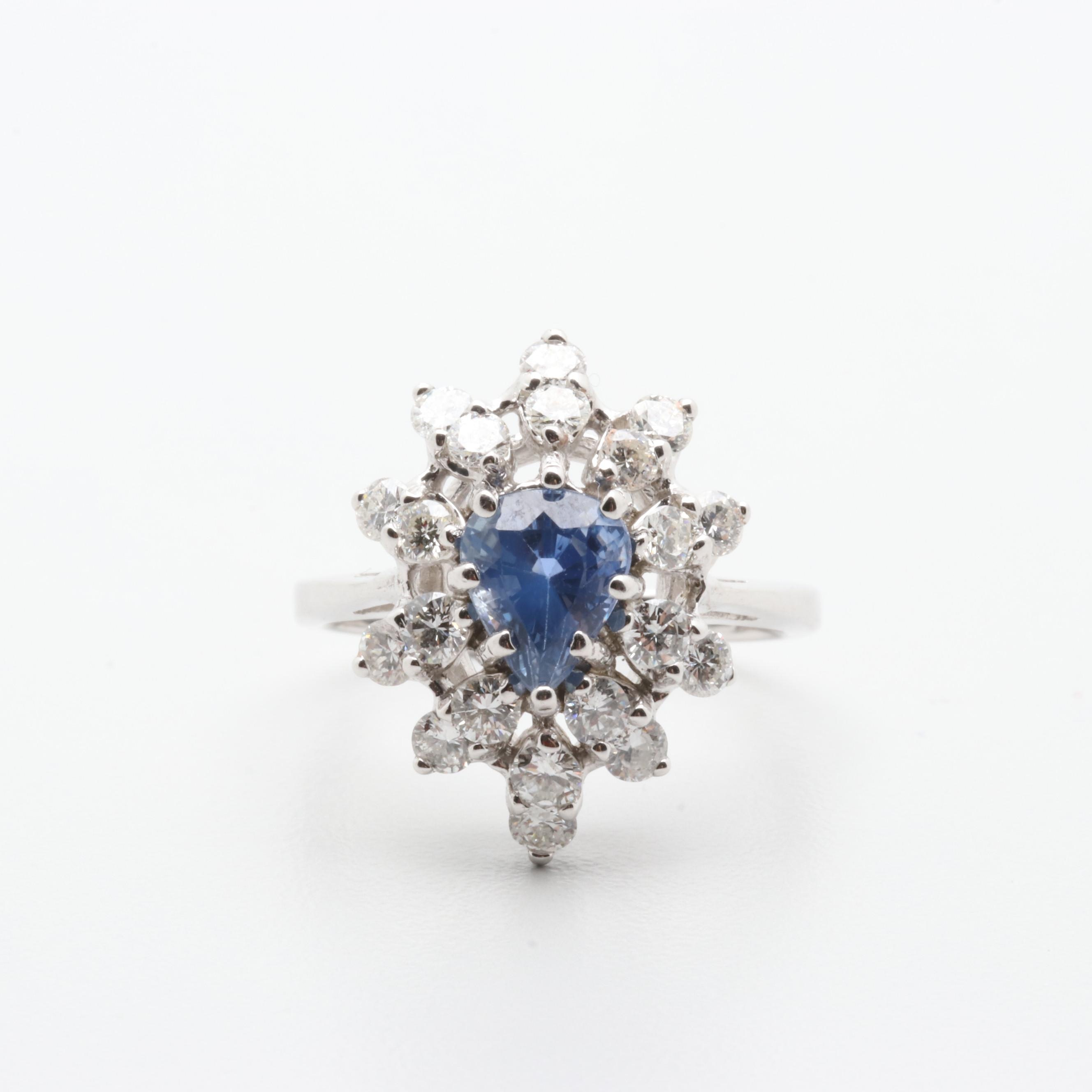14K White Gold 1.84 CTW Blue Sapphire and 1.25 CTW Diamond Ring with AGL Report