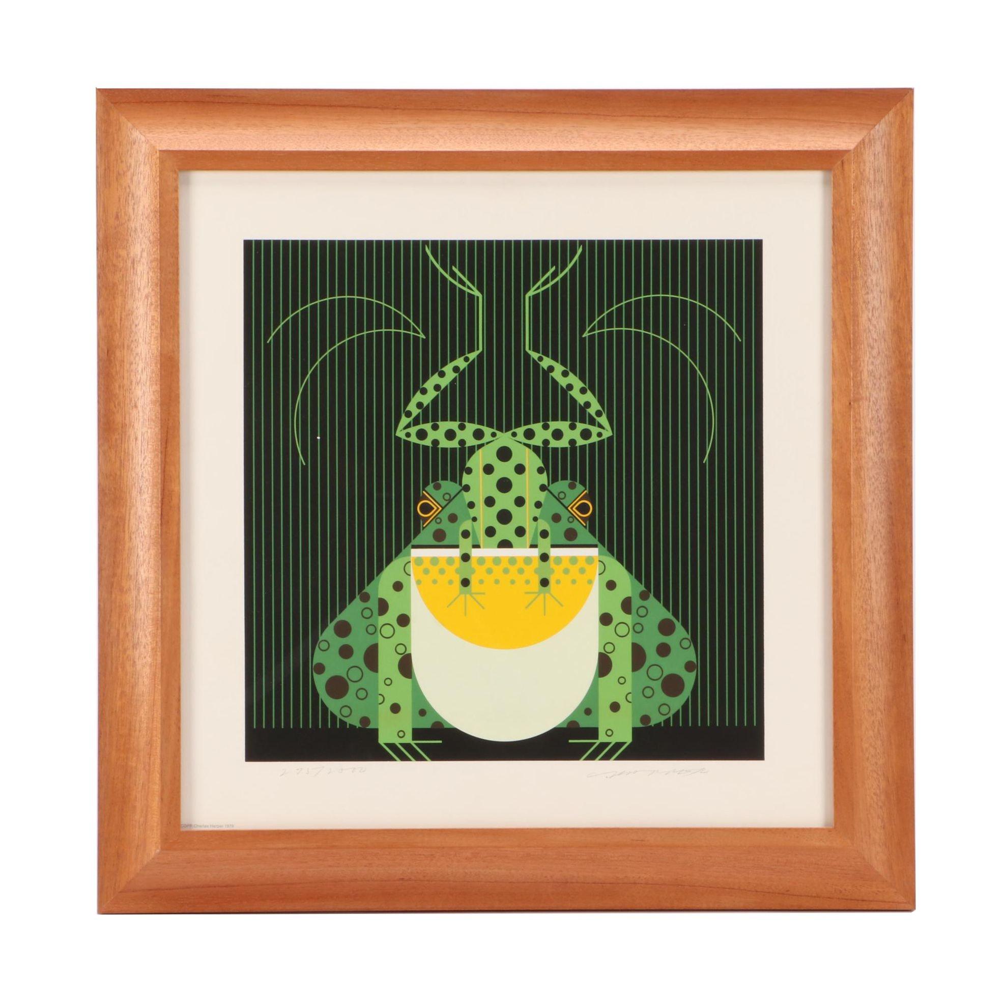 """Charley Harper 1978 Limited Edition Serigraph """"Frog Eat Frog"""""""