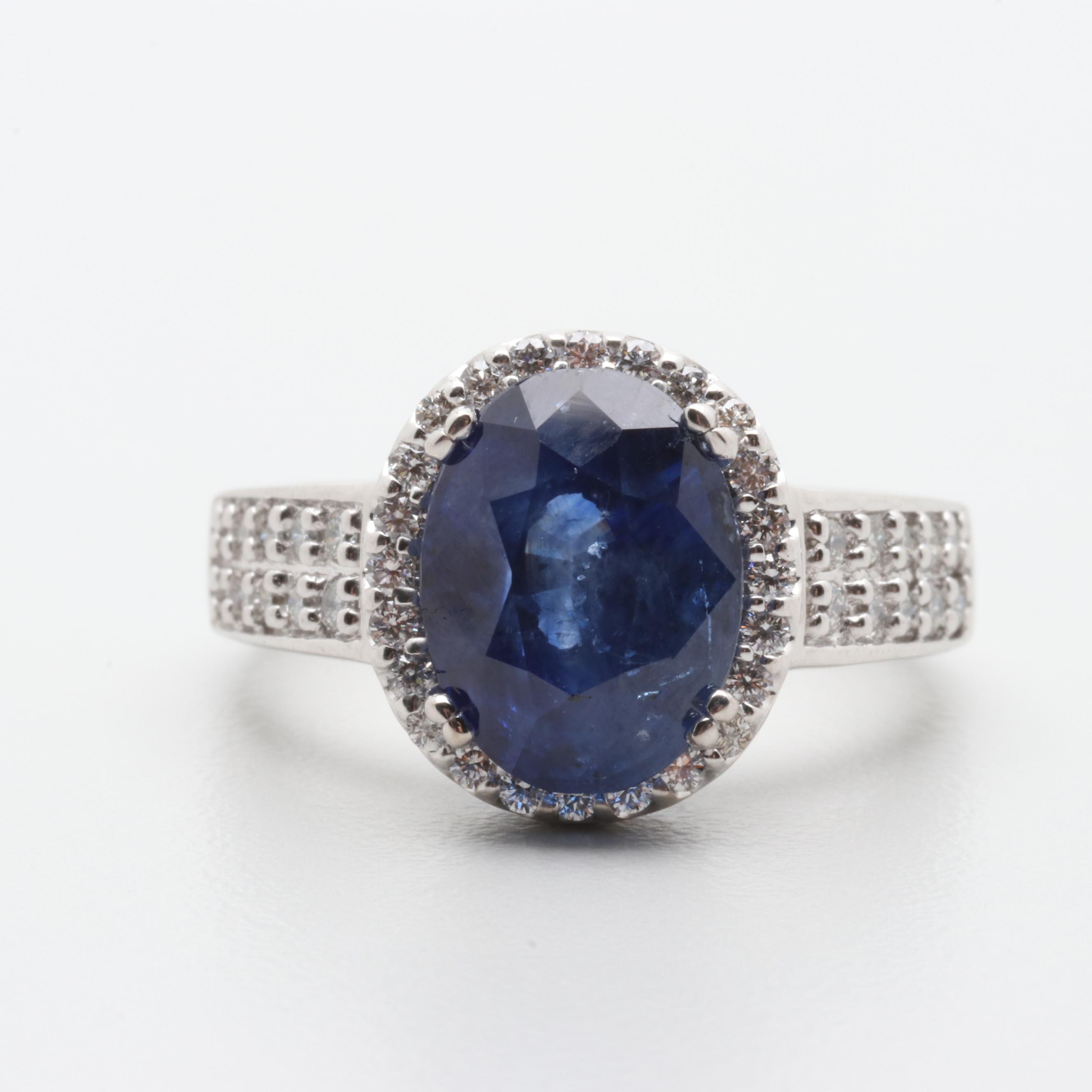 18K White Gold 5.88 CT Blue Sapphire and Diamond Ring with AGL Report