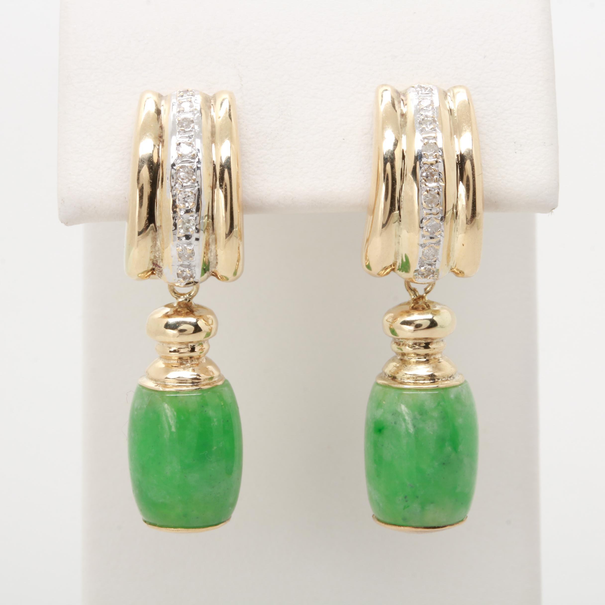 14K Yellow Gold Diamond and Jadeite Dangle Earrings