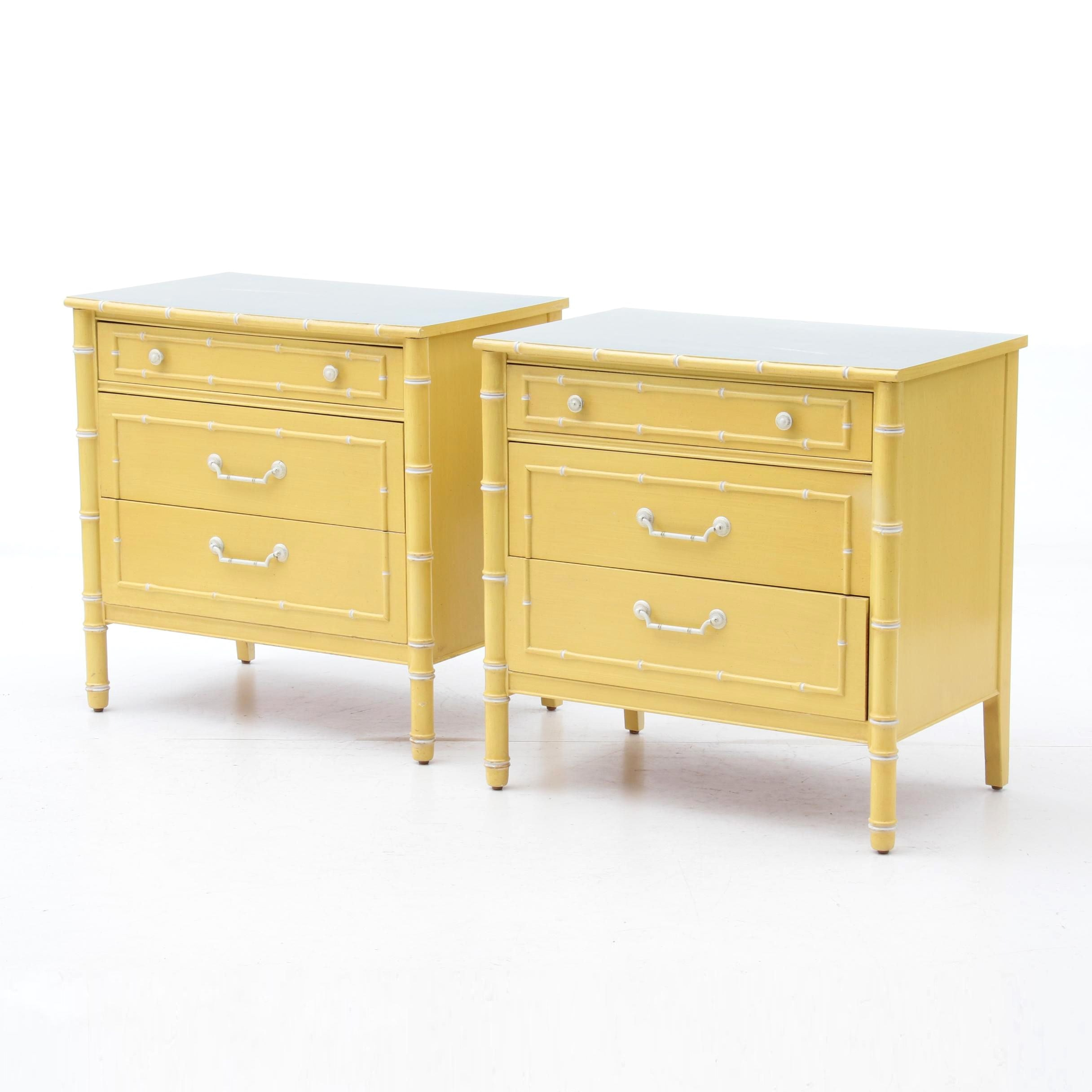 Painted Faux Bamboo Chest of Drawers by Thomasville, Mid/Late 20th Century