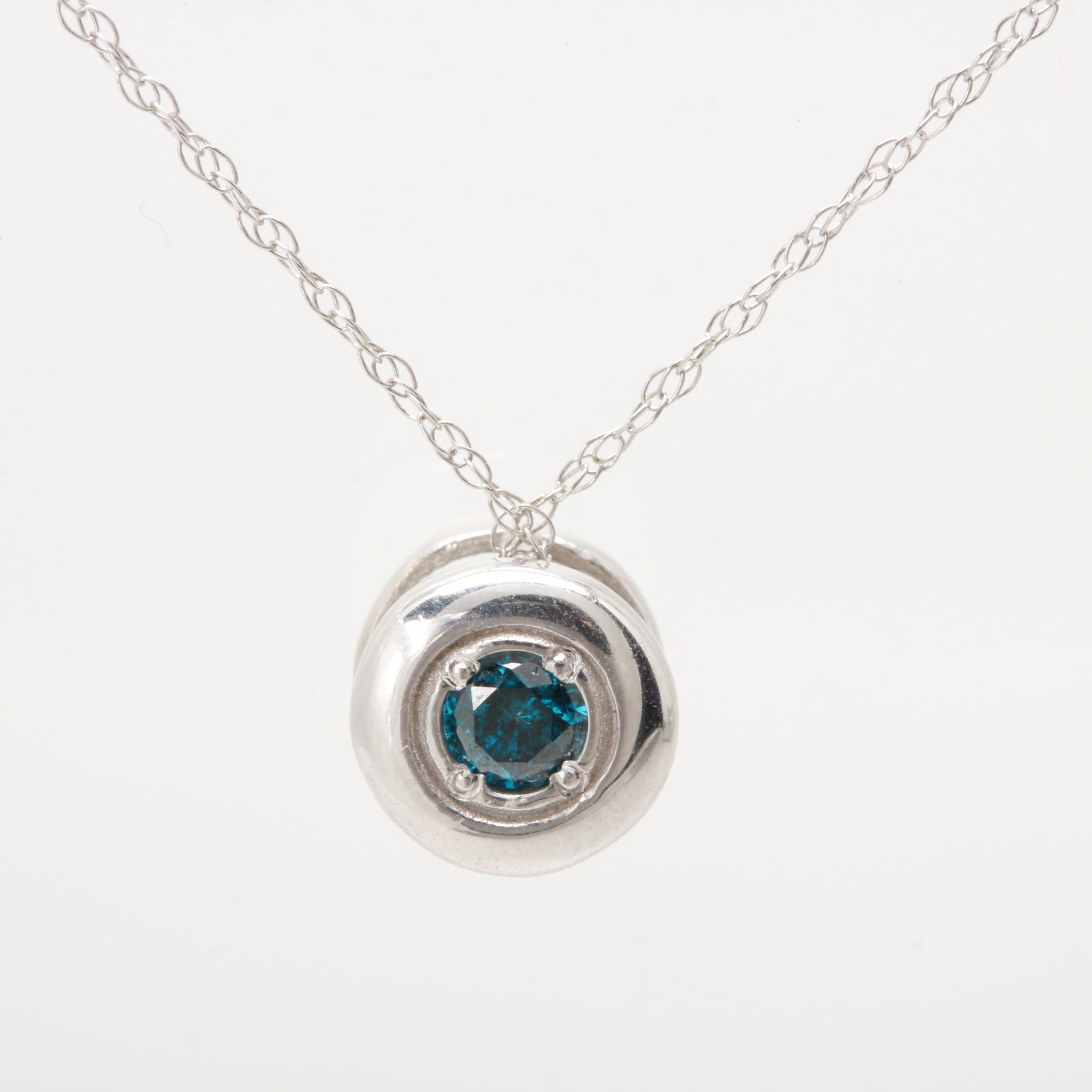 Sterling Silver and 14K White Gold Blue Diamond Necklace