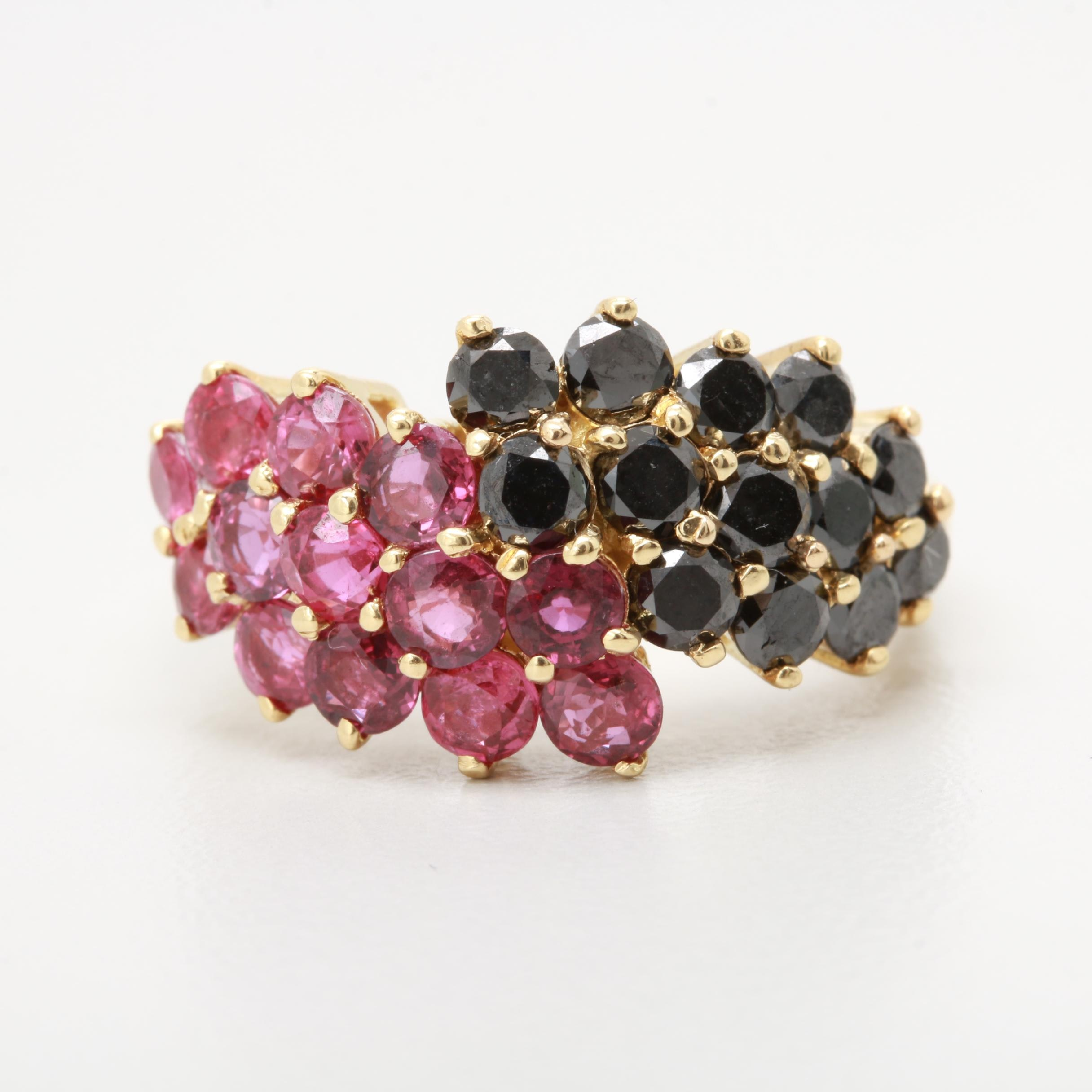 Carl K. Gumpert 18K Yellow Gold Ruby and 1.04 CTW Diamond Cluster Ring