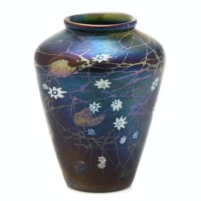 Tiffany Studios Blue Millefiori Favrile Glass Vase