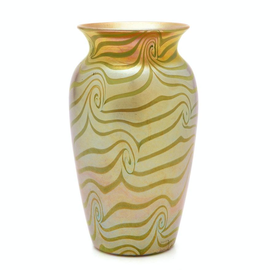 Durand 'King Tut' Iridescent Glass Vase, circa 1925