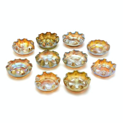 Set of Ten Tiffany Studios Favrile Glass Salts