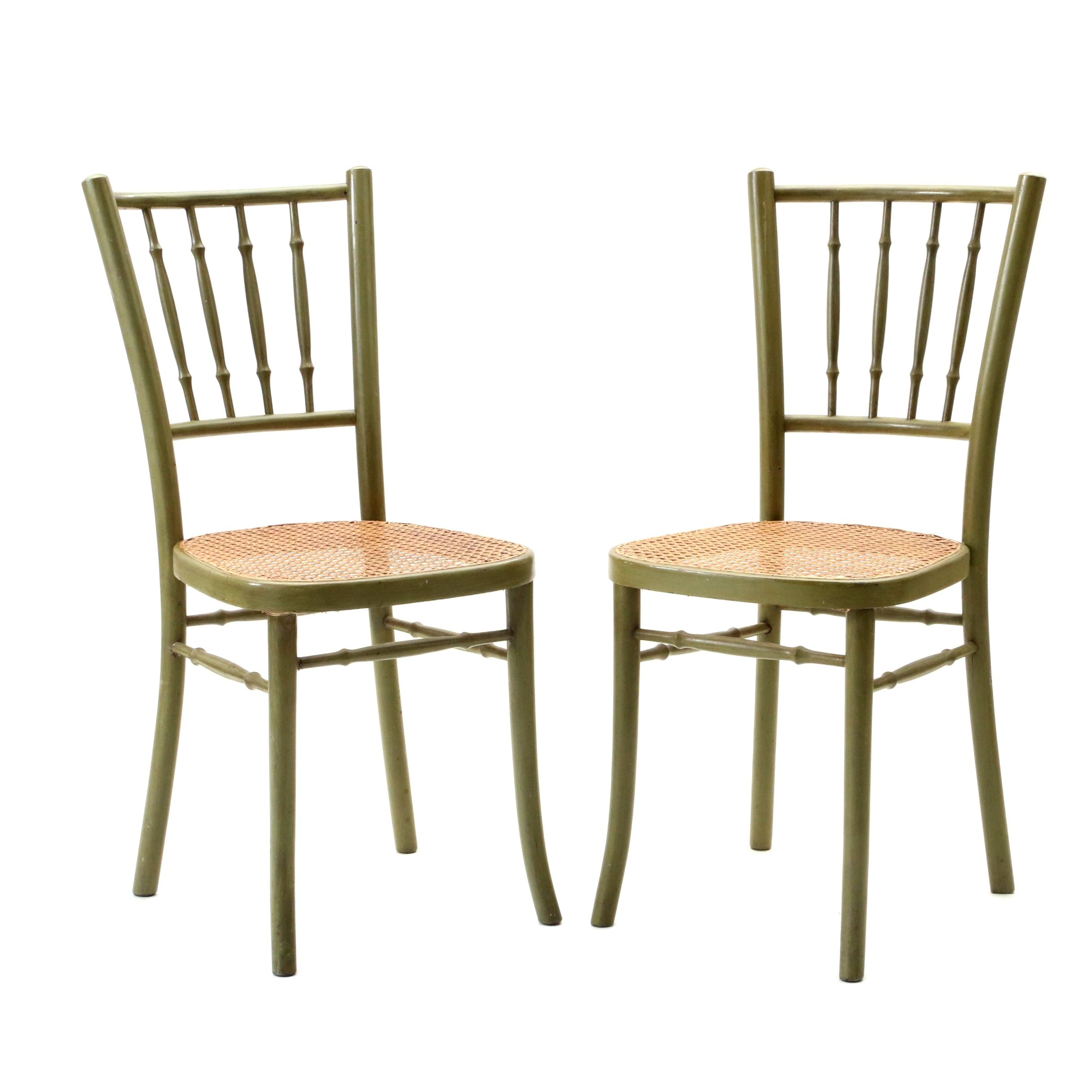 Painted Side Chairs with Woven Seats, Late 20th Century