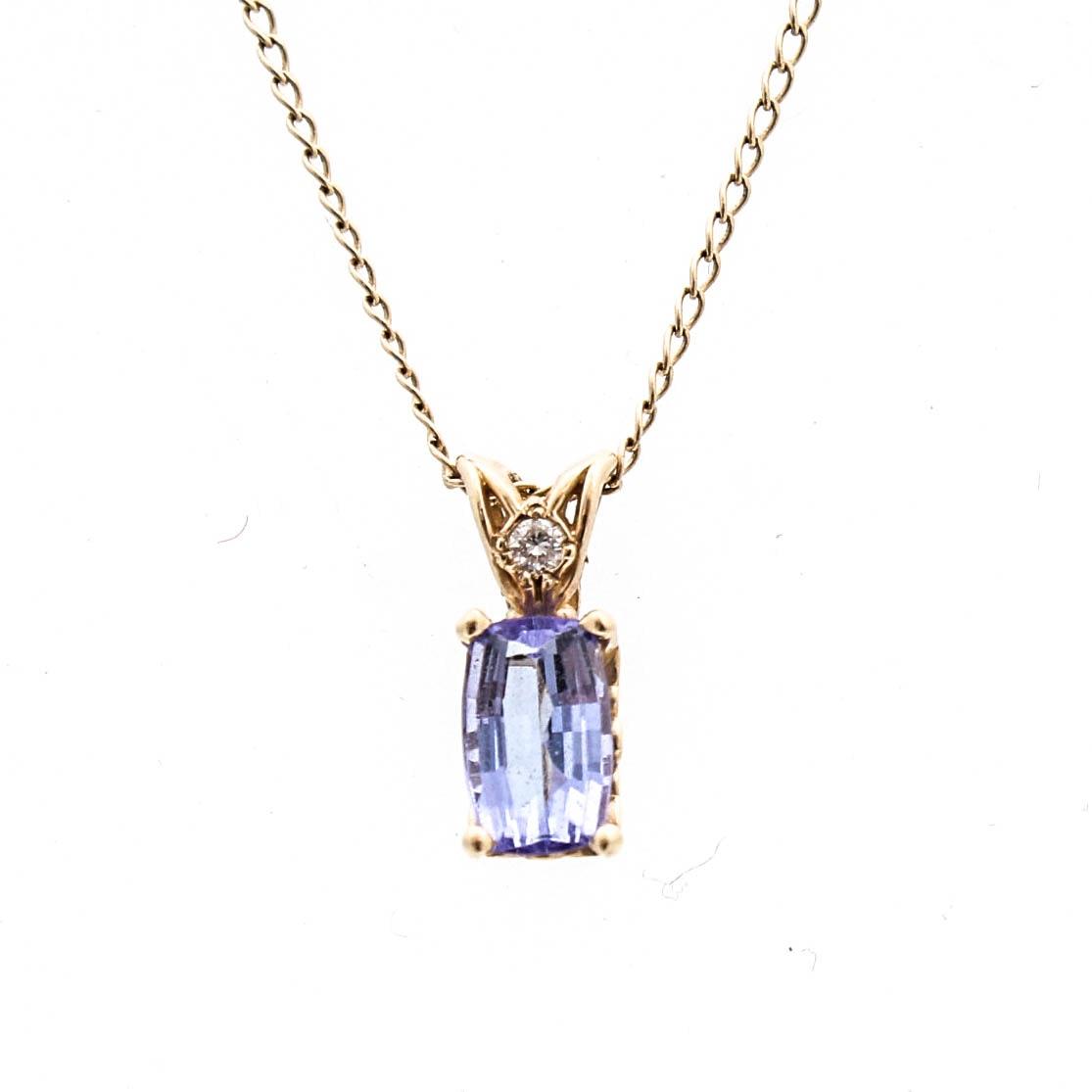 14K Yellow Gold Tanzanite and Diamond Pendant Necklace