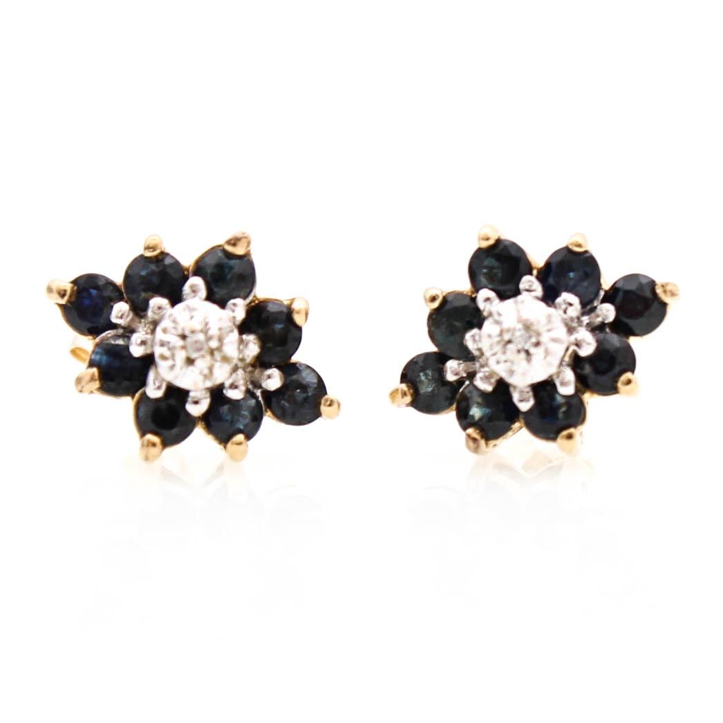14K Yellow Gold Diamond and Sapphire Earrings
