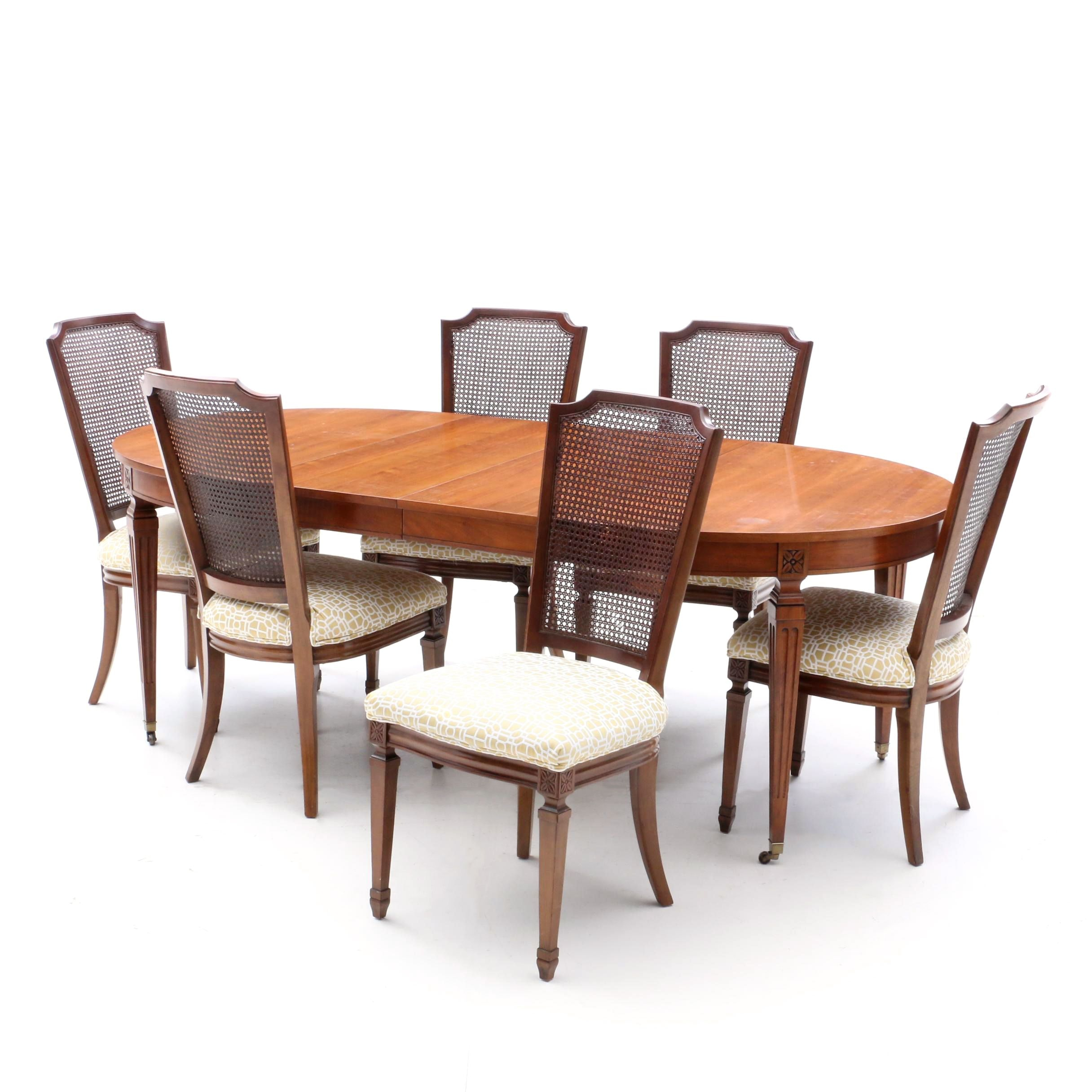 French Provincial Style Dining Table and Side Chairs, Late 20th Century
