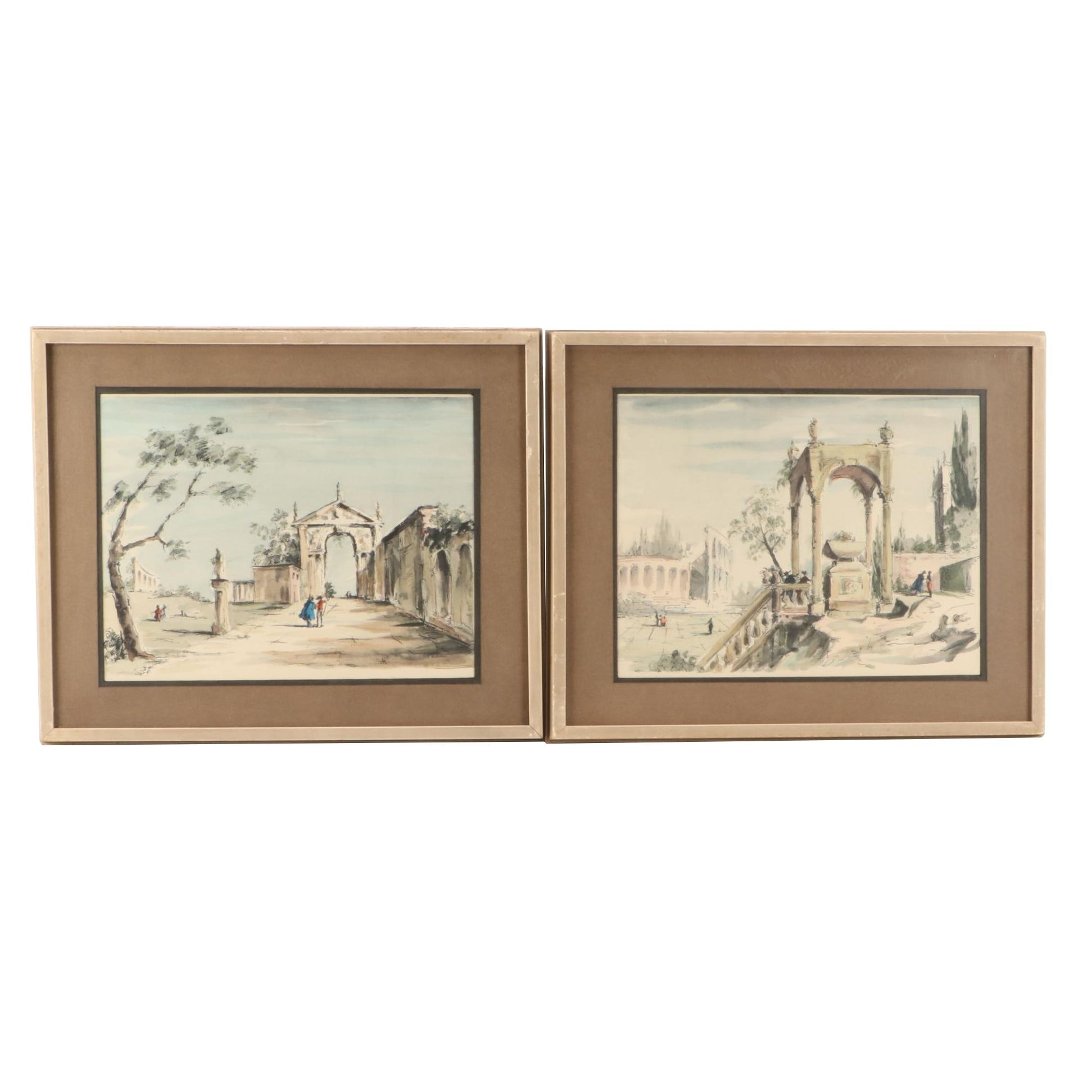 """C. Williams Hand-Colored Lithographs """"Classical Landscape V and VI"""""""