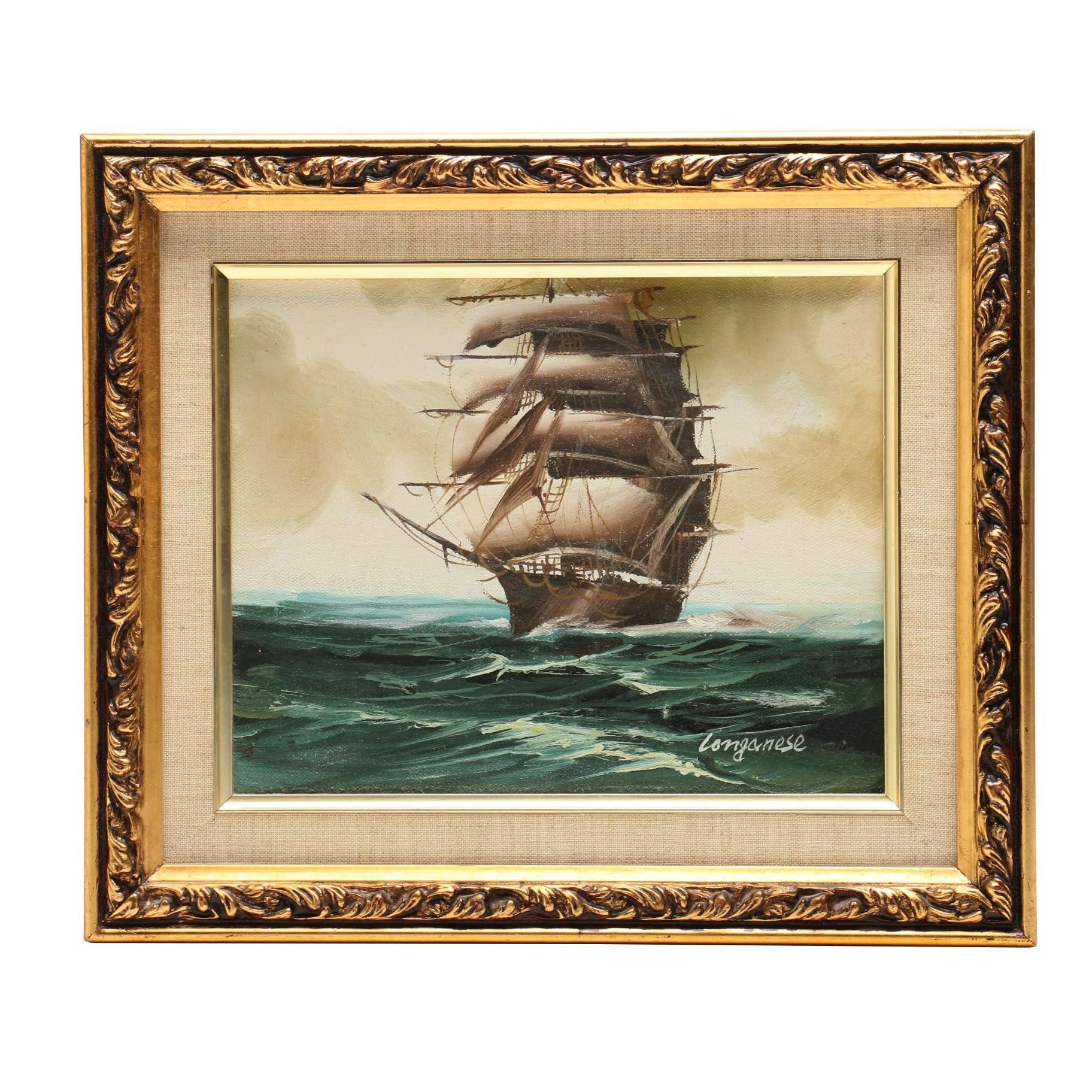 Longanese Oil Painting of Windjammer at Sea