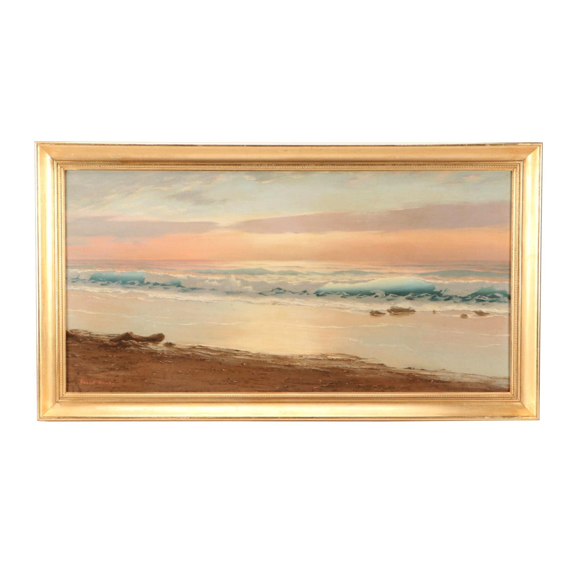 Robert Weeks Oil Painting of Coastal Sunset