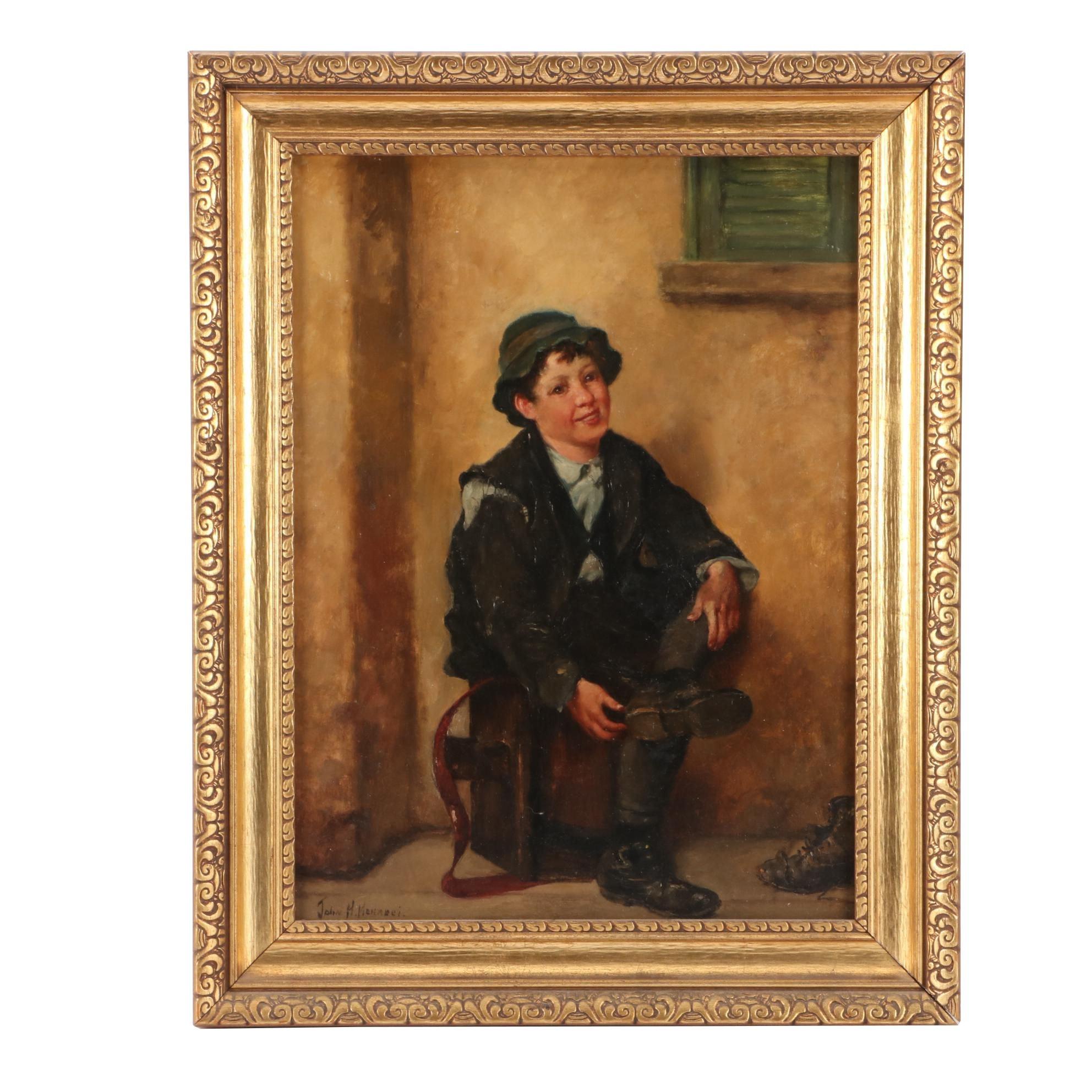 John Henry Henrici Genre Portrait Oil Painting of Shoeshine Boy