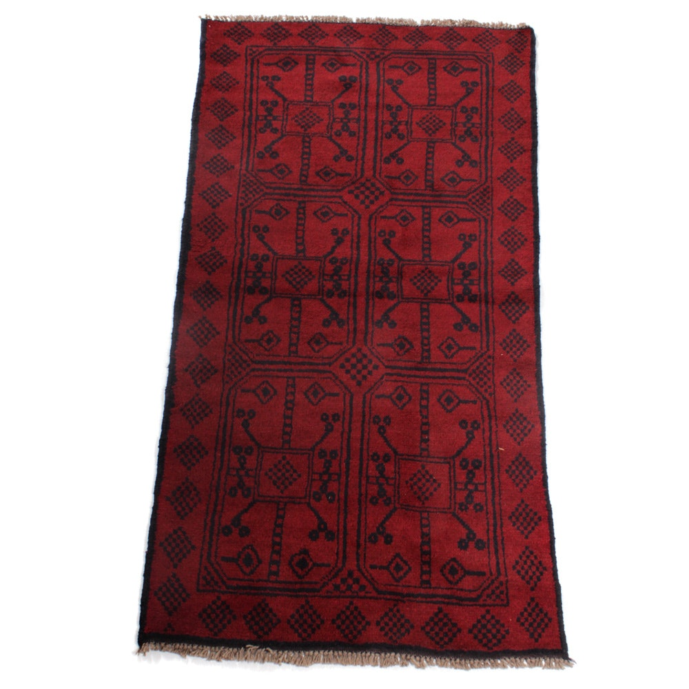 Semi-Antique Hand-Knotted Afghani Turkmen Rug