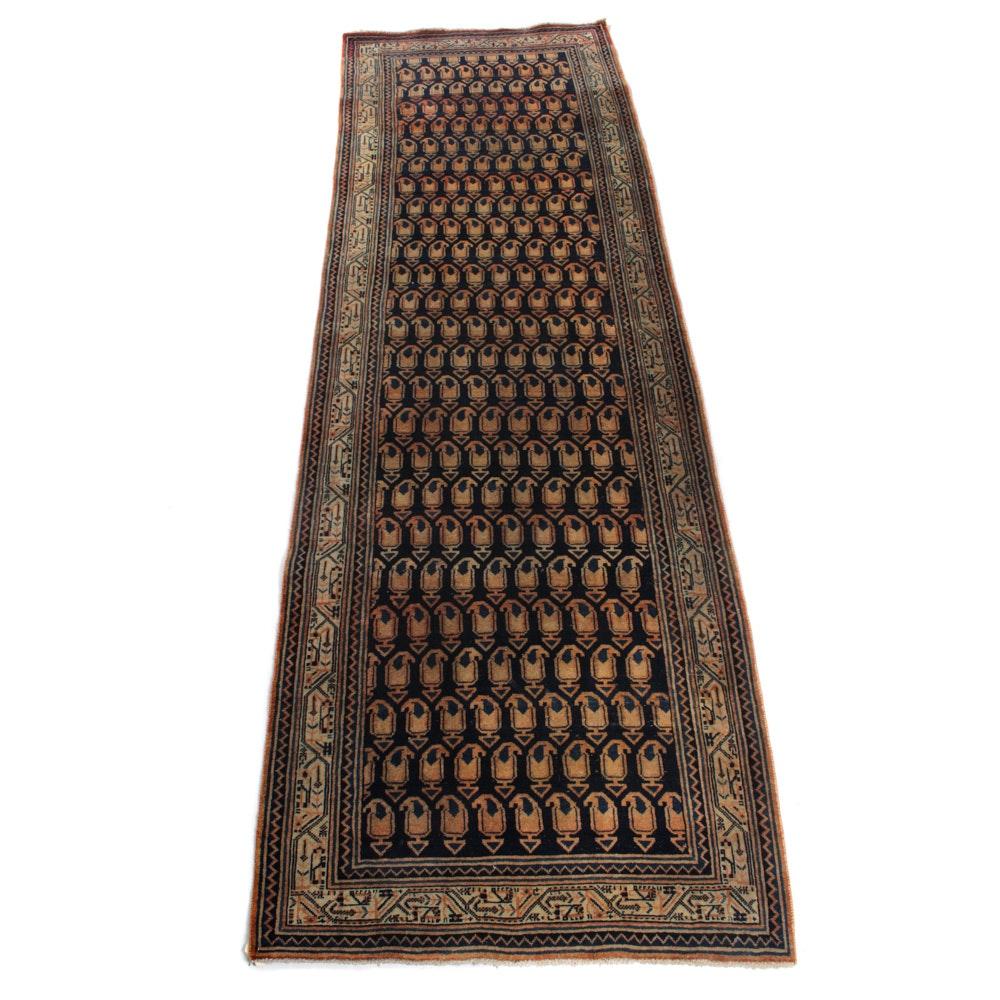 Vintage Hand-Knotted Persian Mir Sarouk Carpet Runner