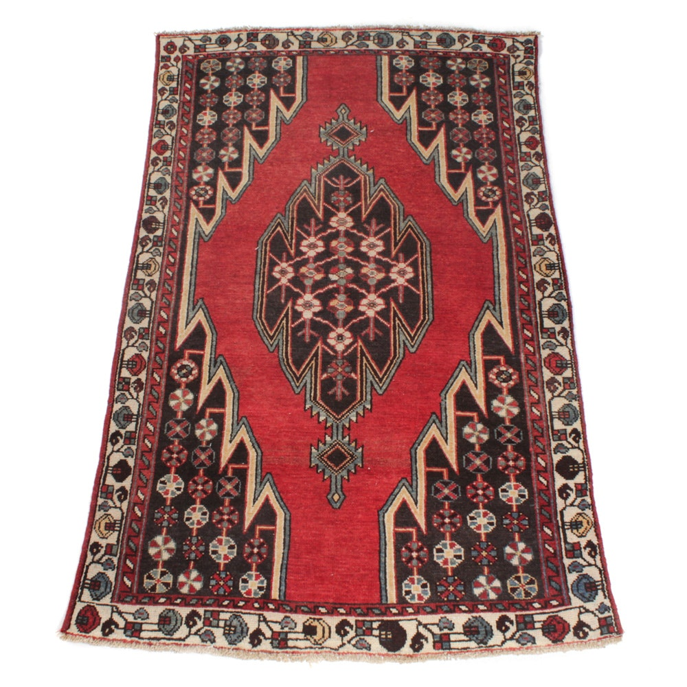 Vintage Hand-Knotted Persian Zanjan Rug