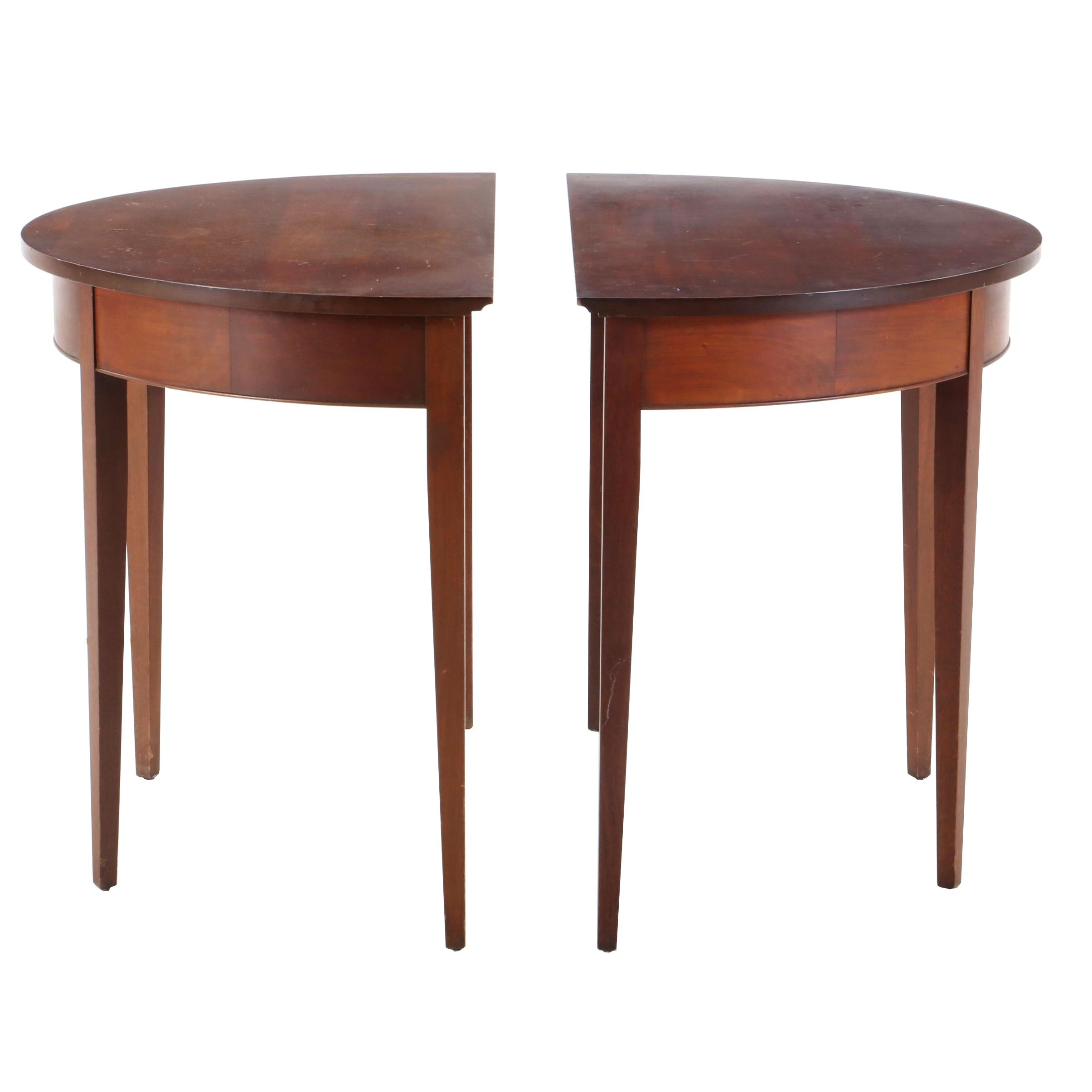 Federal Style Mahogany Demilune Console Tables, Late 20th Century