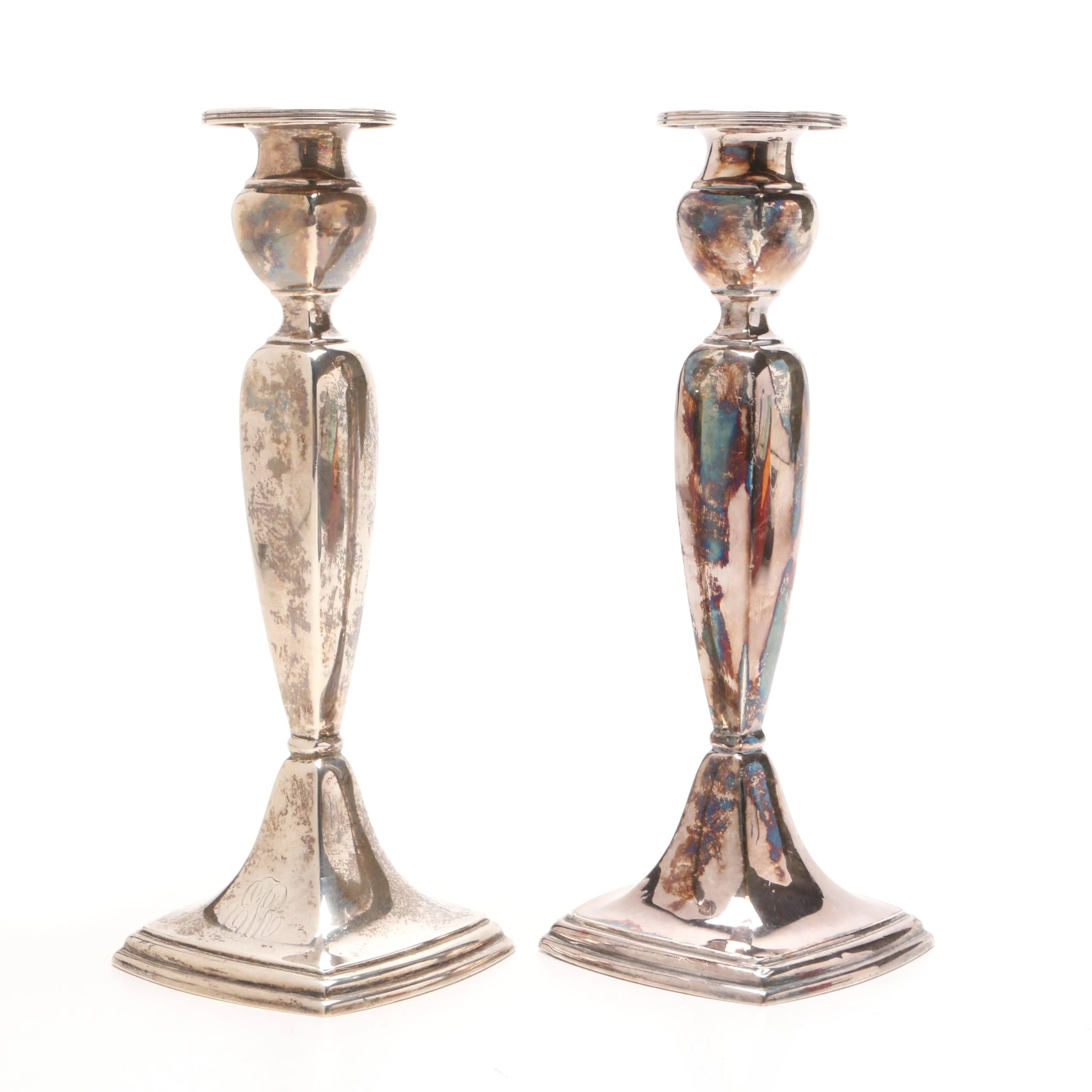Vintage La Pierre Weighted Sterling Silver Candlesticks