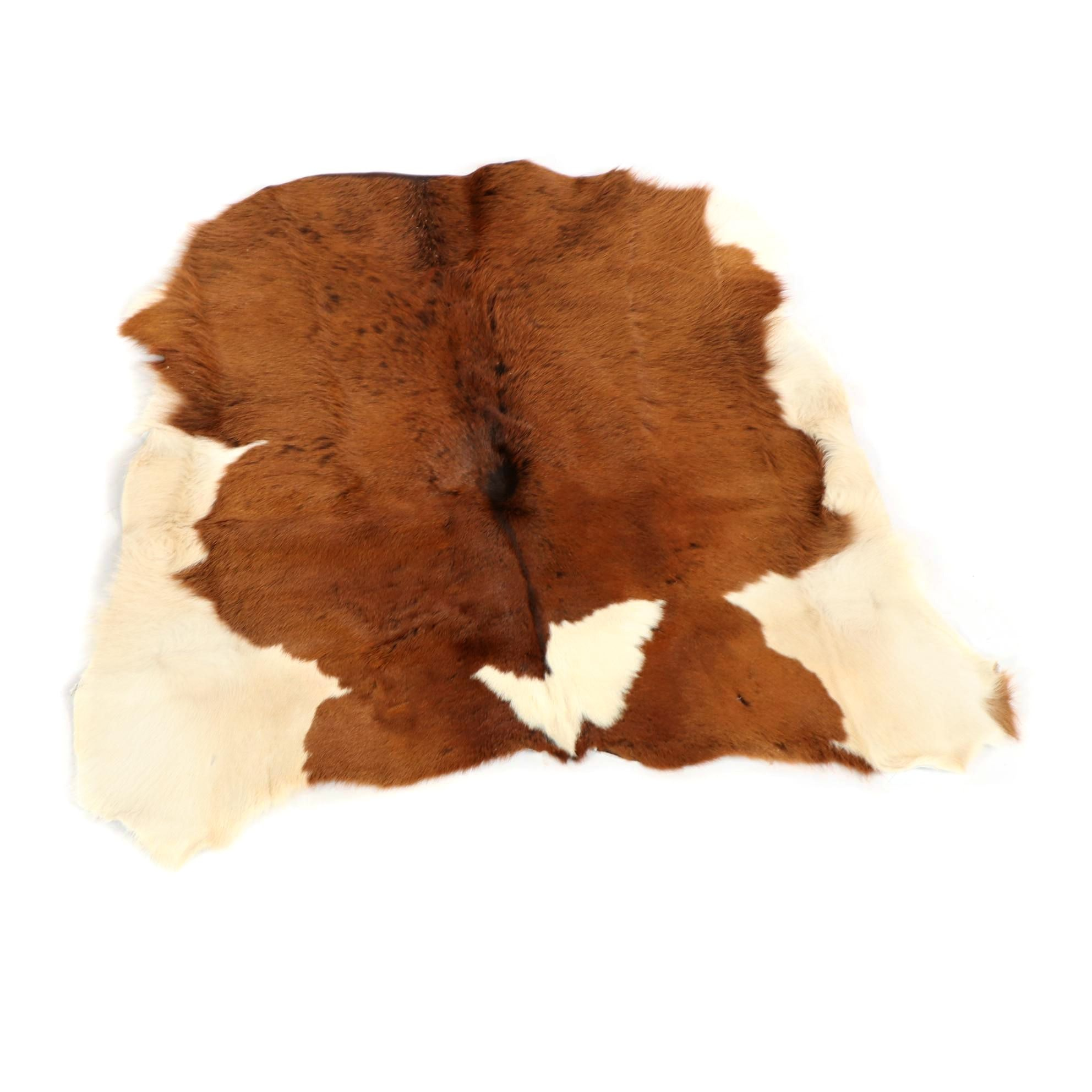 Natural Brown and White Cowhide Floor Covering
