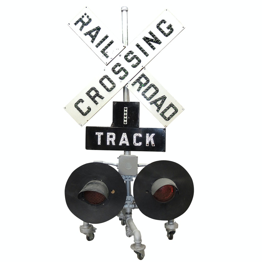 Railroad Crossing Signal with Cross-Buck and Lights