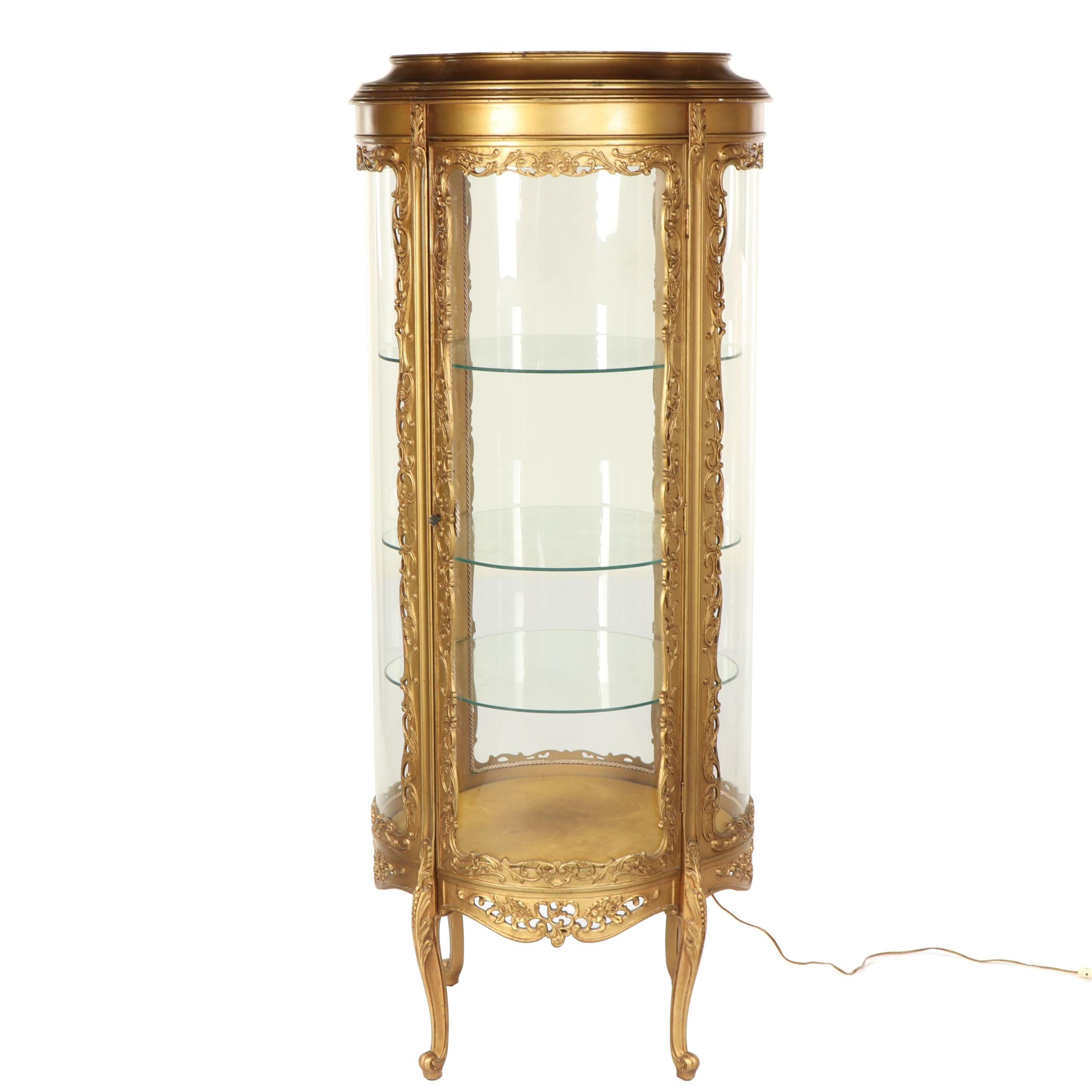 Louis XV Style Gold Tone Painted Illuminated Curio Cabinet, Late 20th Century
