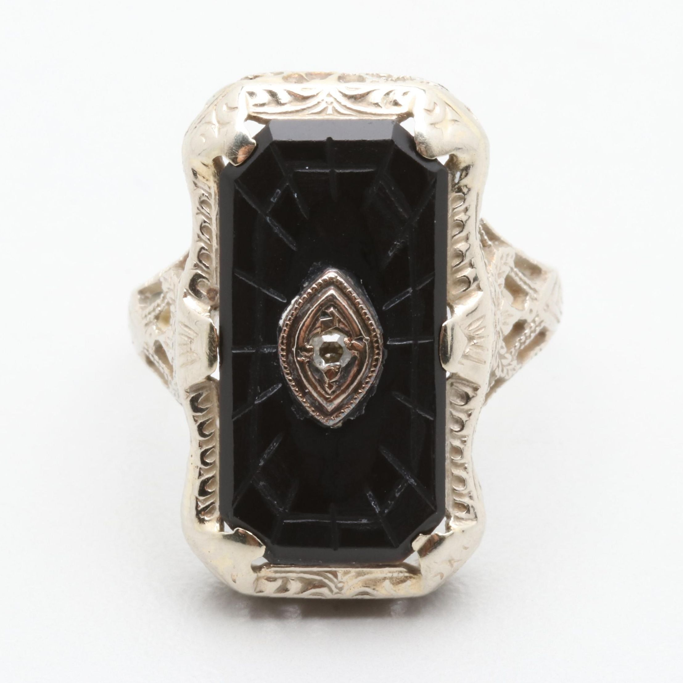 Art Deco 14K White Gold Diamond and Black Onyx Ring