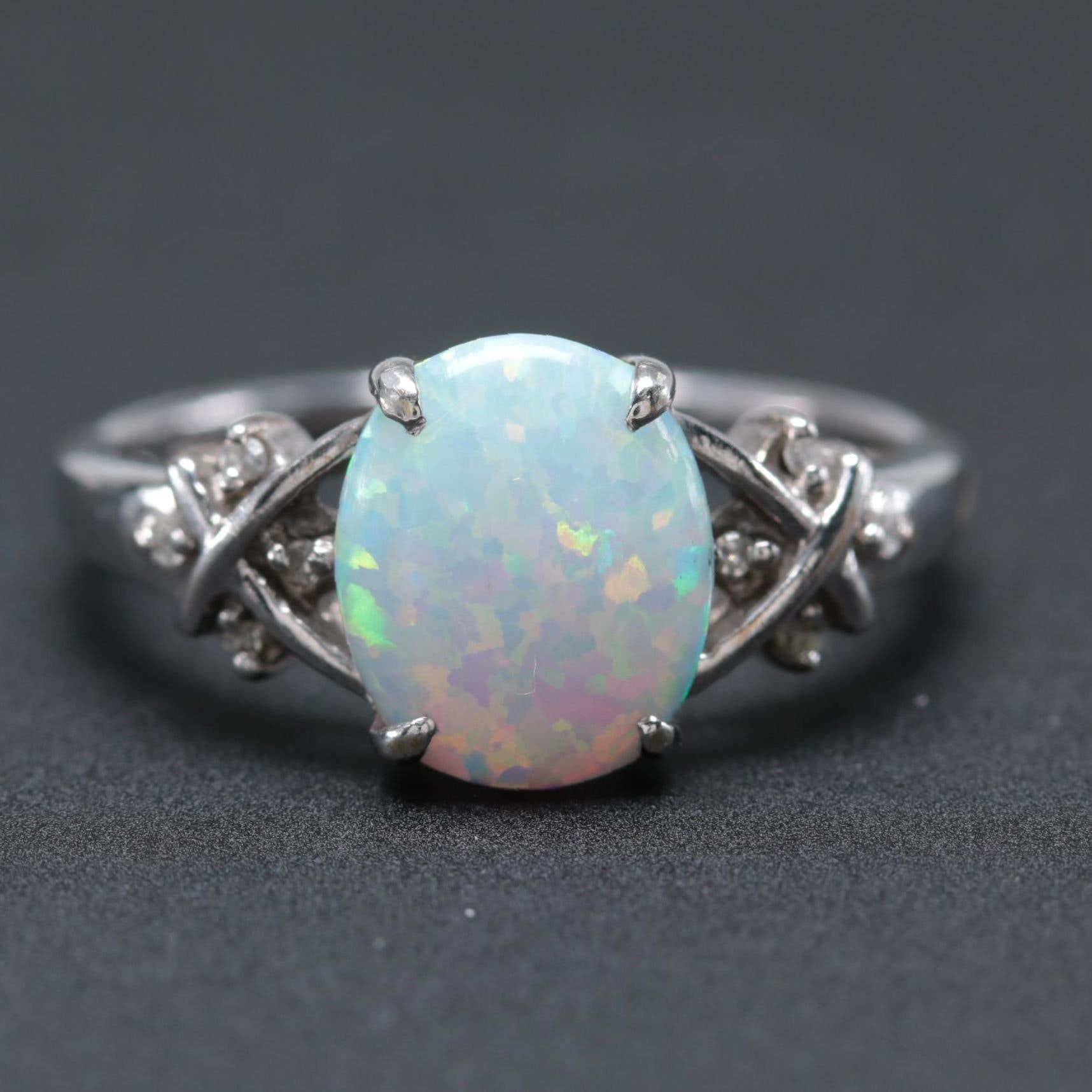 10K White Gold Synthetic Opal and Diamond Ring