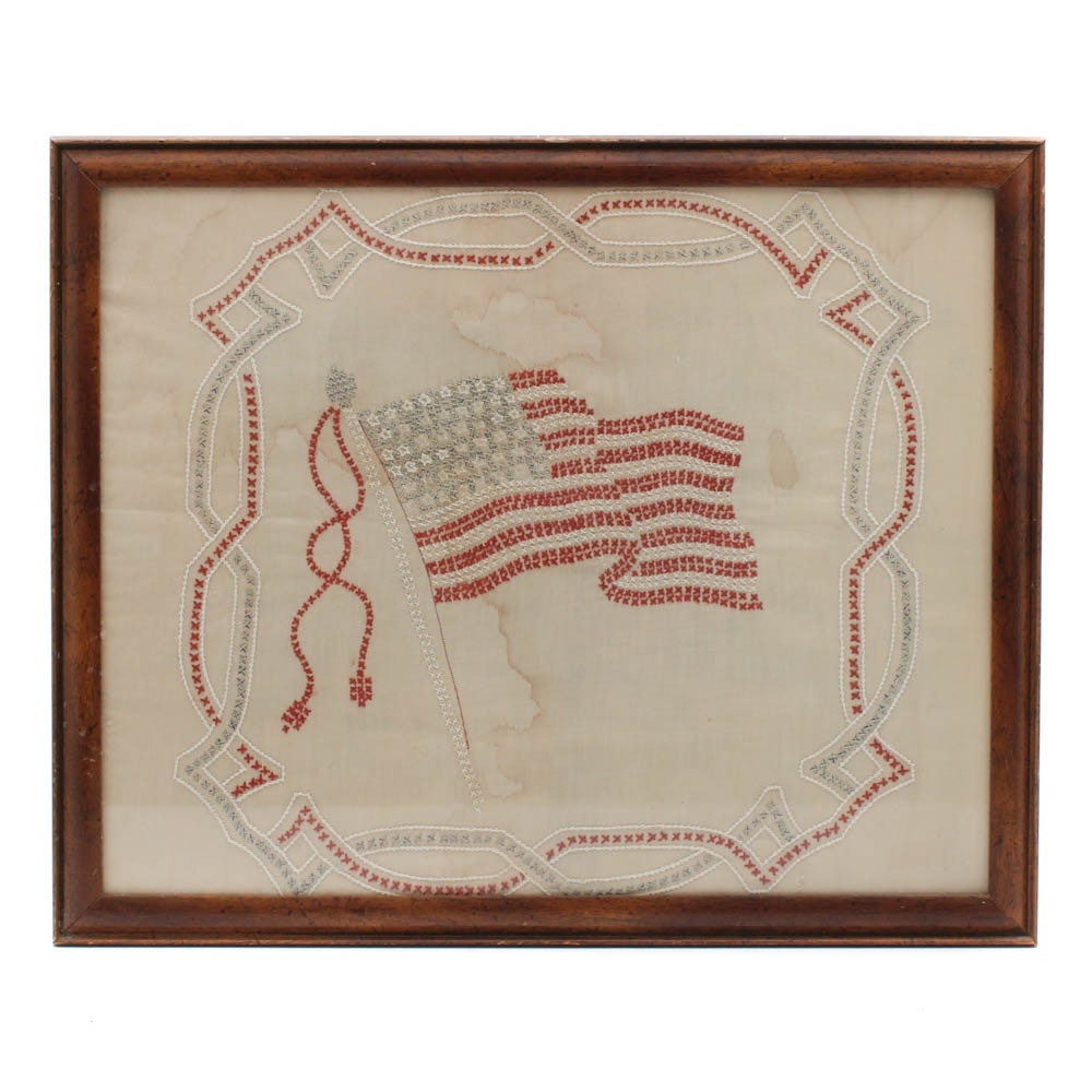 Vintage 48-Star American Flag Embroidery