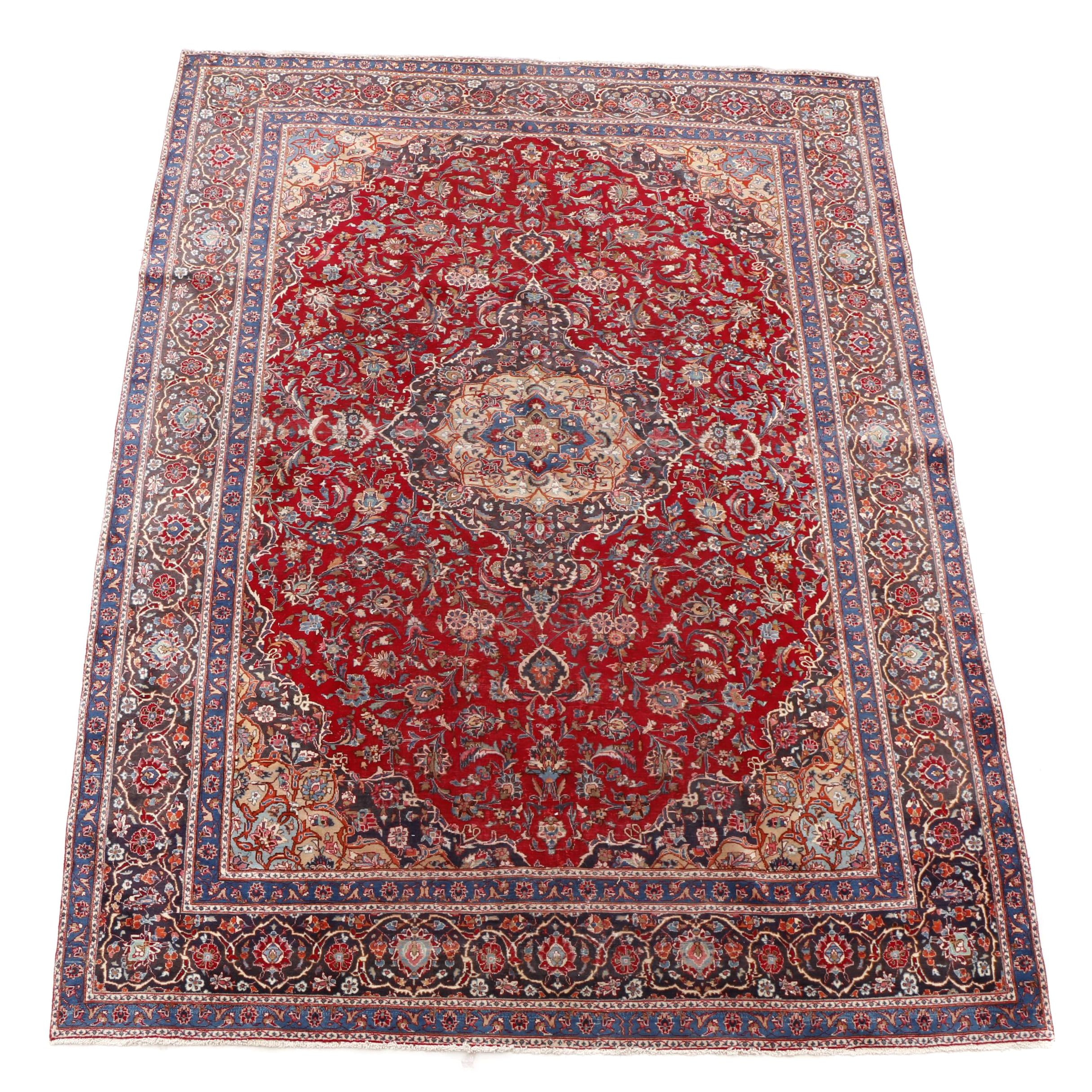 Hand-Knotted Persian Kashan Room-Sized Rug