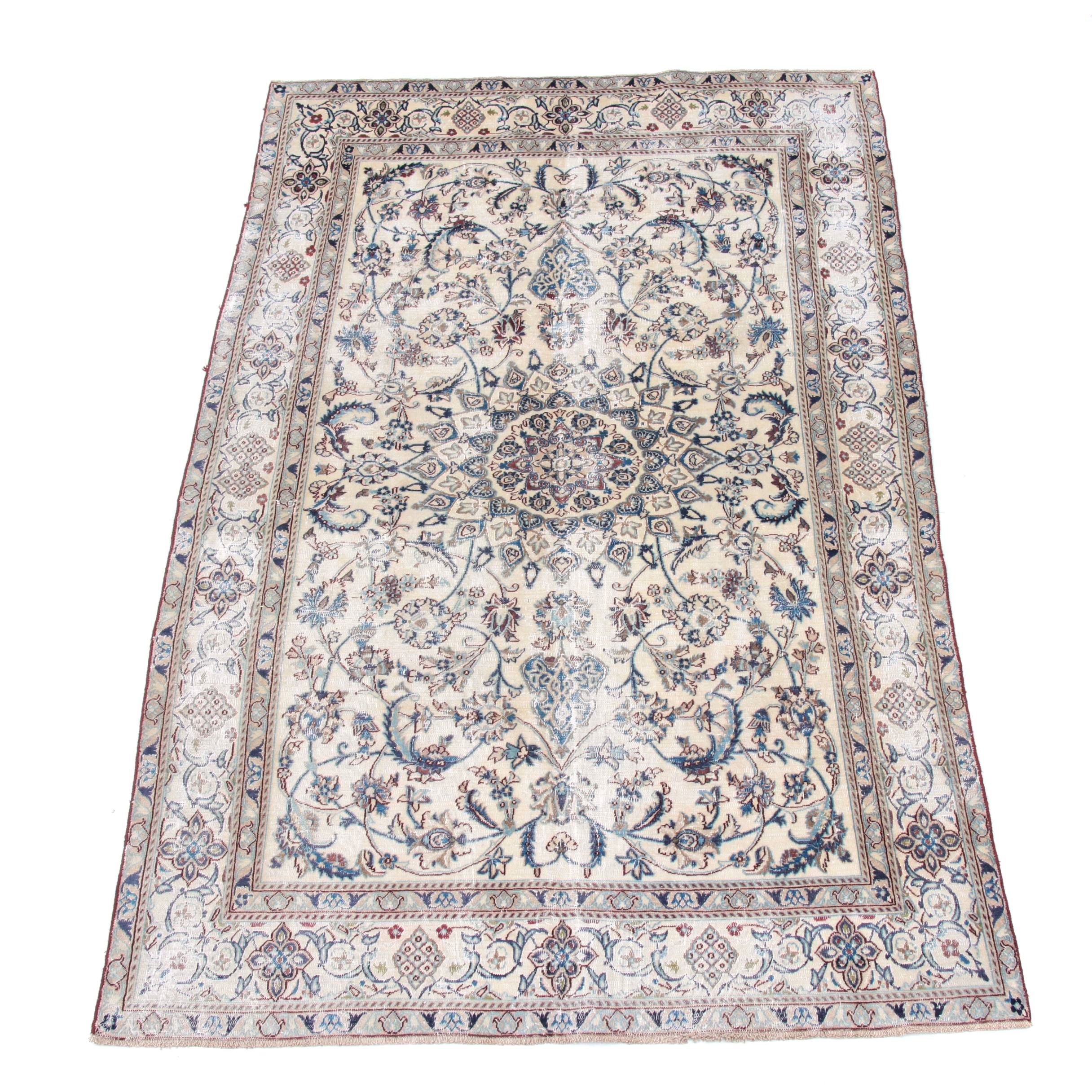 Hand-Knotted Persian Nain Wool Area Rug