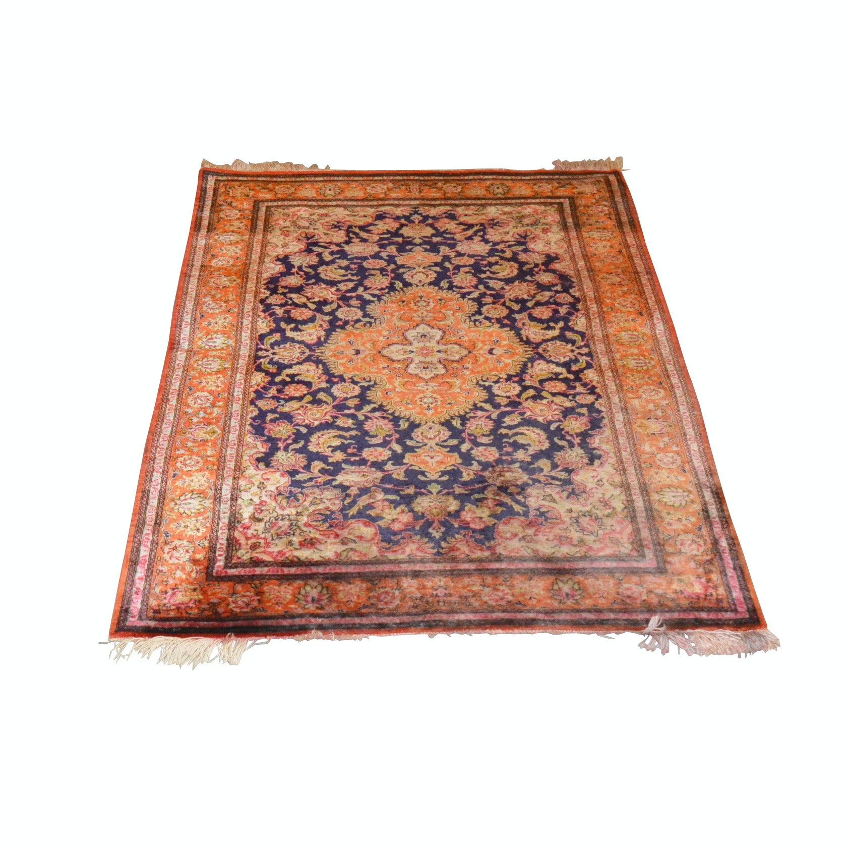 Hand-Knotted Silk and Wool Indo-Persian Rug