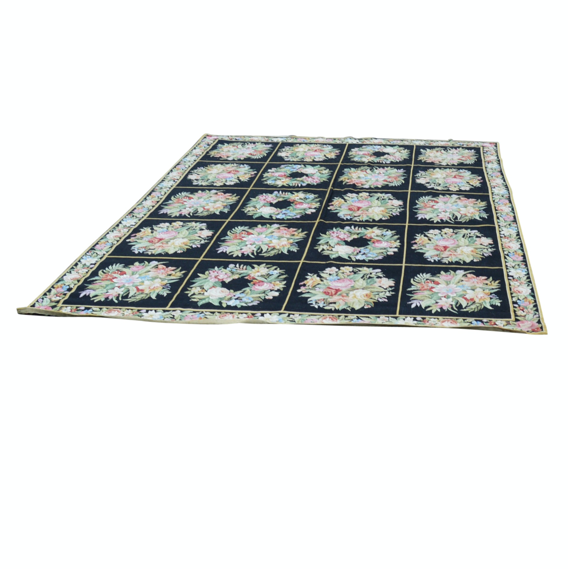 Needlepoint Floral Panel Wool Rug