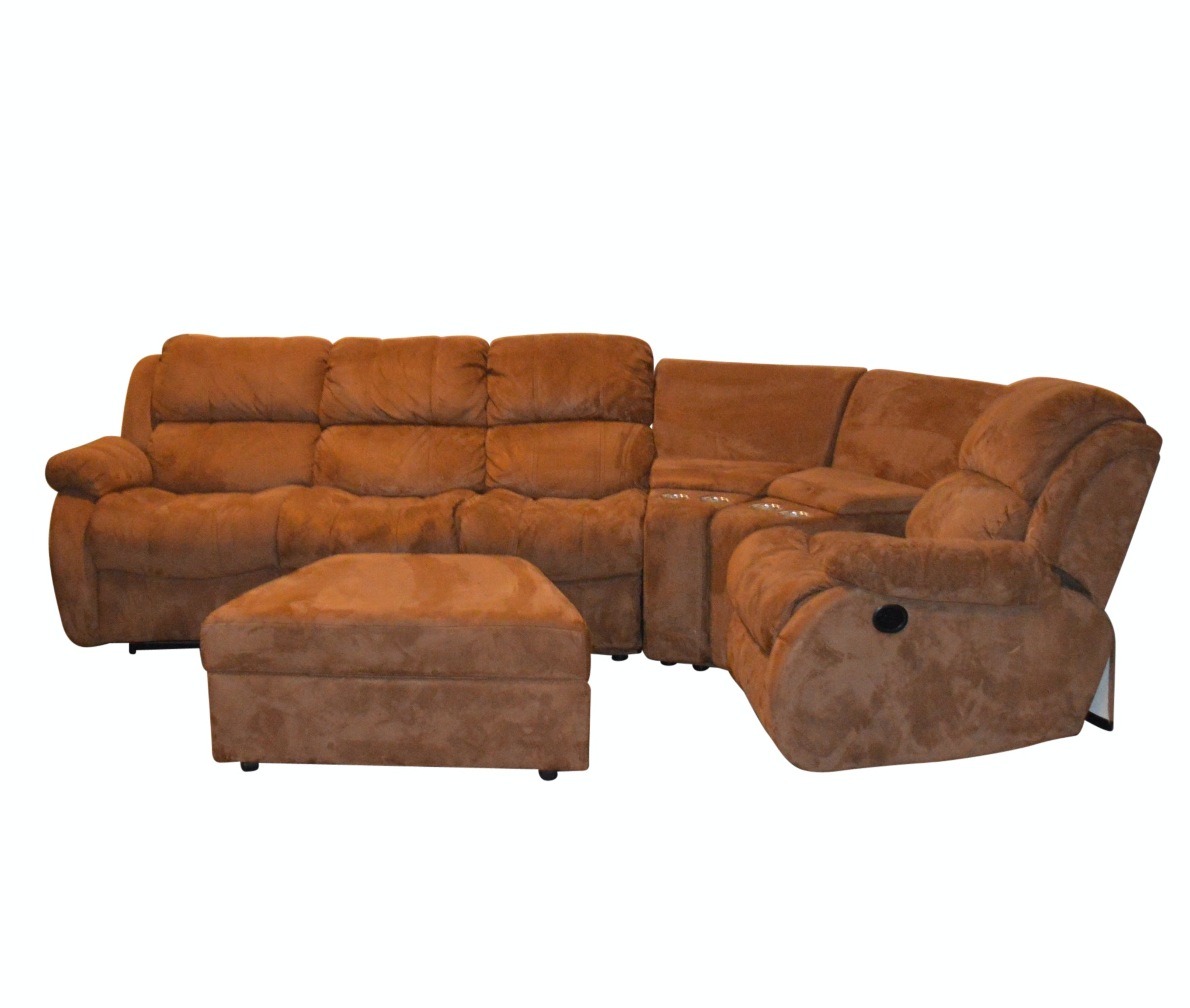 Contemporary Six-Piece Microsuede Reclining Sofa by American Signature