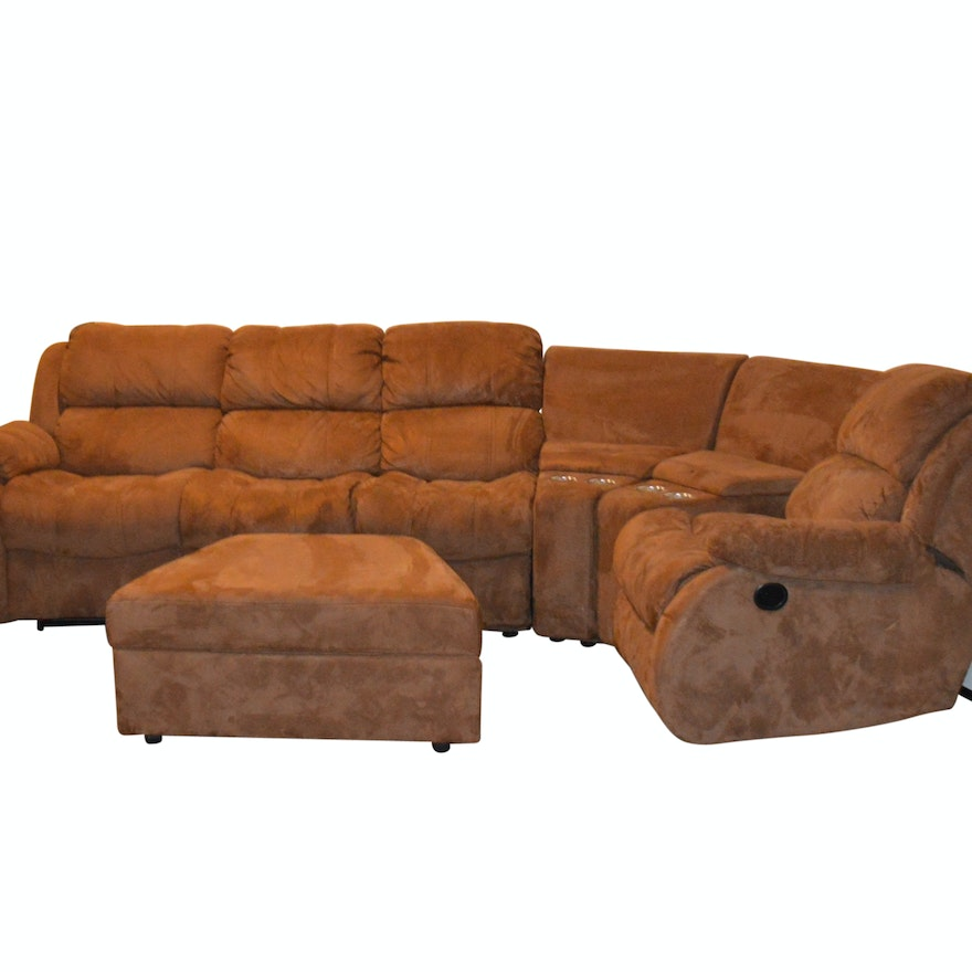 Fabulous Contemporary Six Piece Microsuede Reclining Sofa By American Ncnpc Chair Design For Home Ncnpcorg