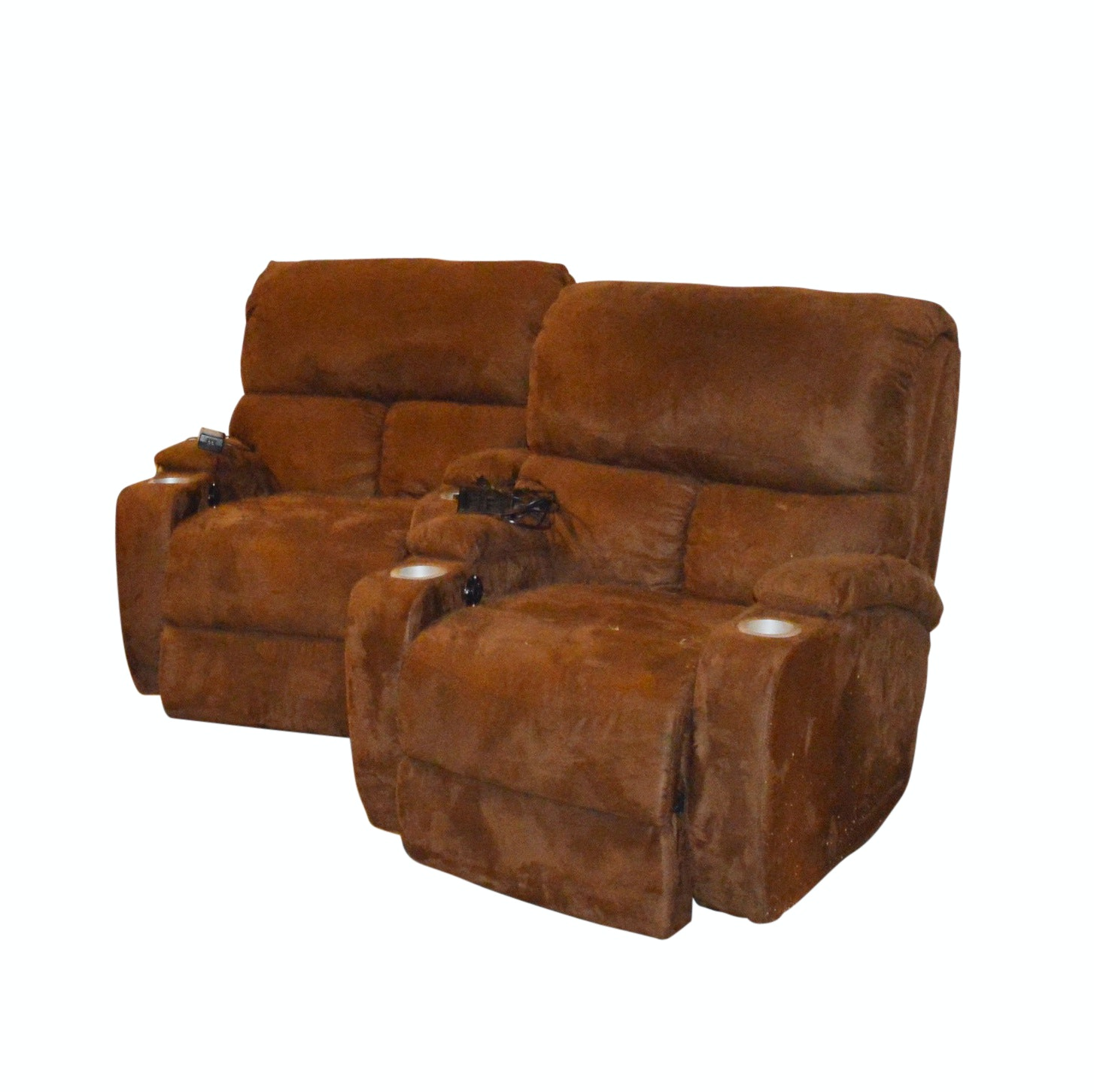 Pair of Contemporary Brown Microfiber Electric Recliners