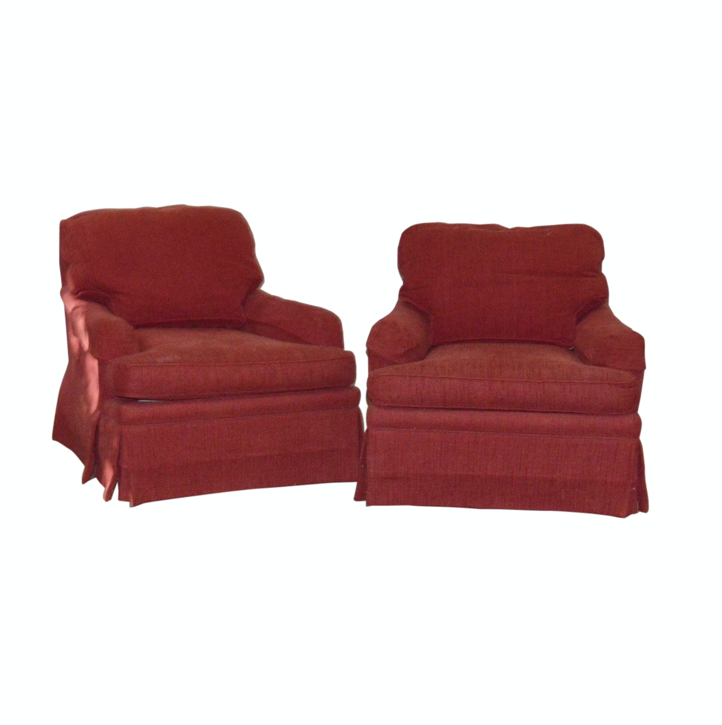 Pair of Contemporary Red Upholstered Swivel Armchairs by ISENHOUR