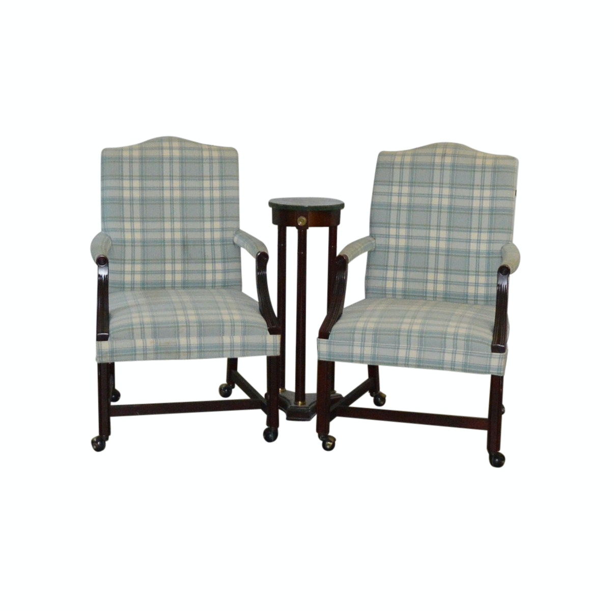 Pair of Contemporary Fairfield Chairs with Bombay Marble Top Tables