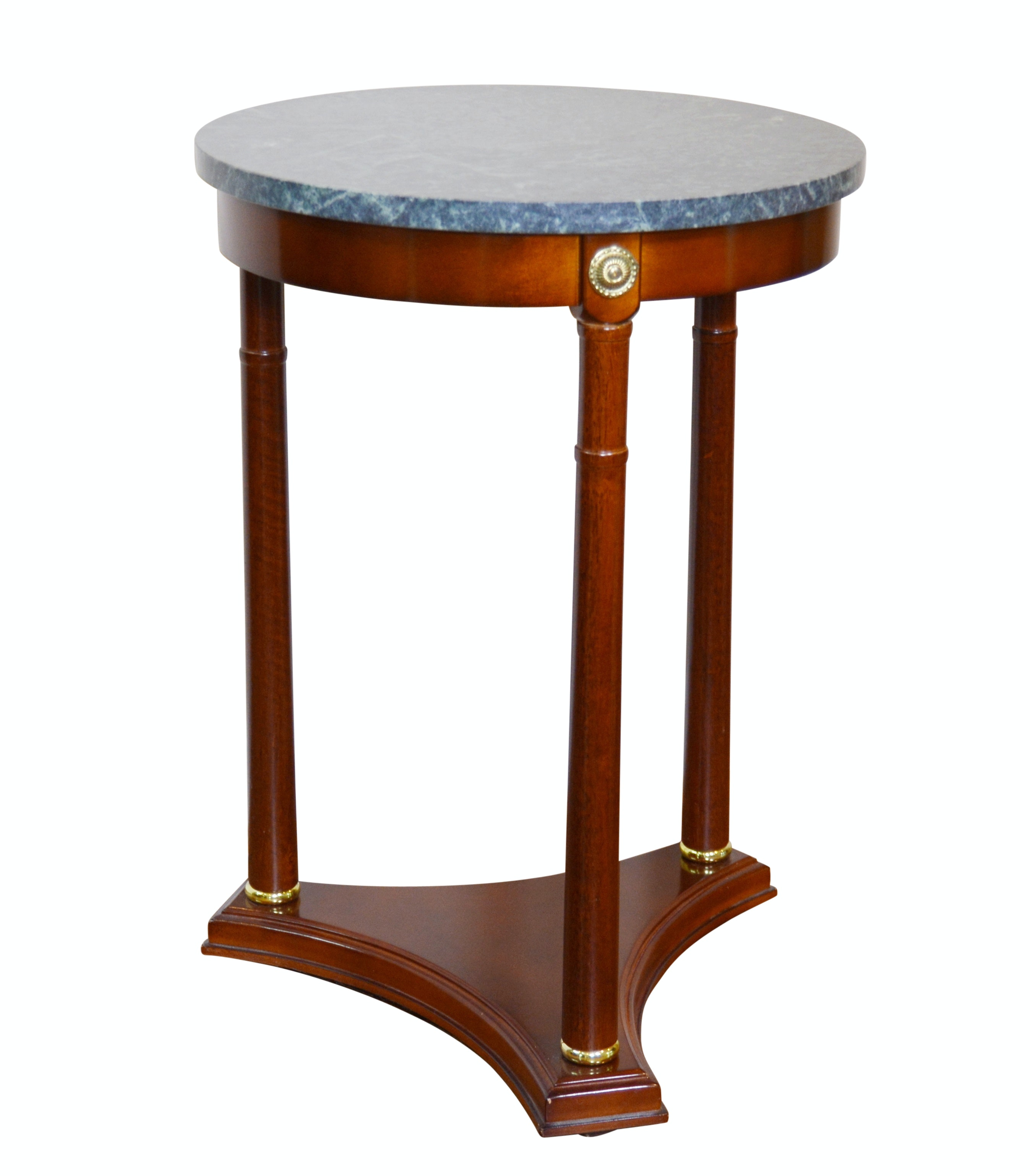 Empire Style Marble Top Round Side Table, Late 20th Century